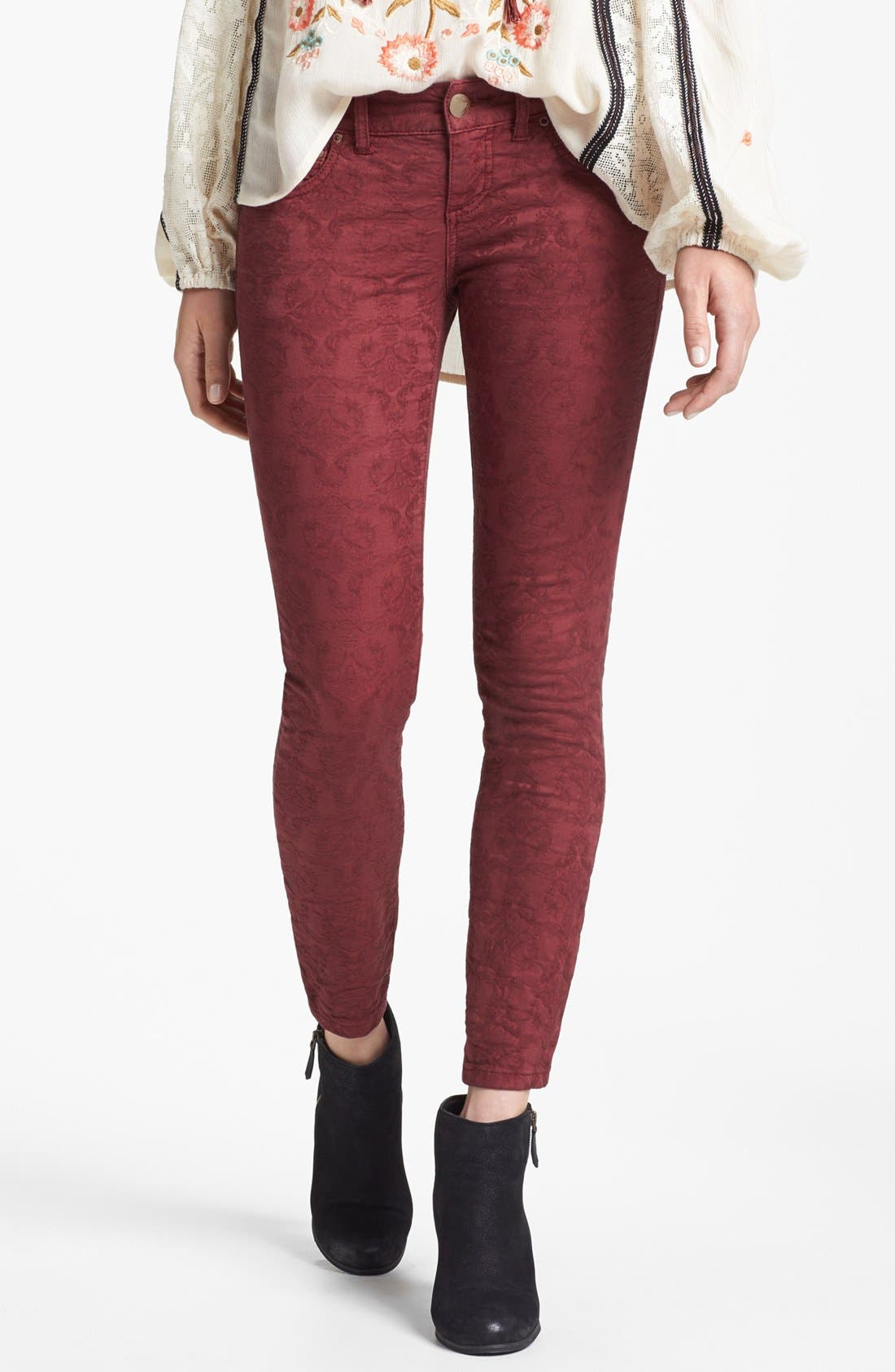 Main Image - Free People Jacquard Skinny Jeans (Cranberry)