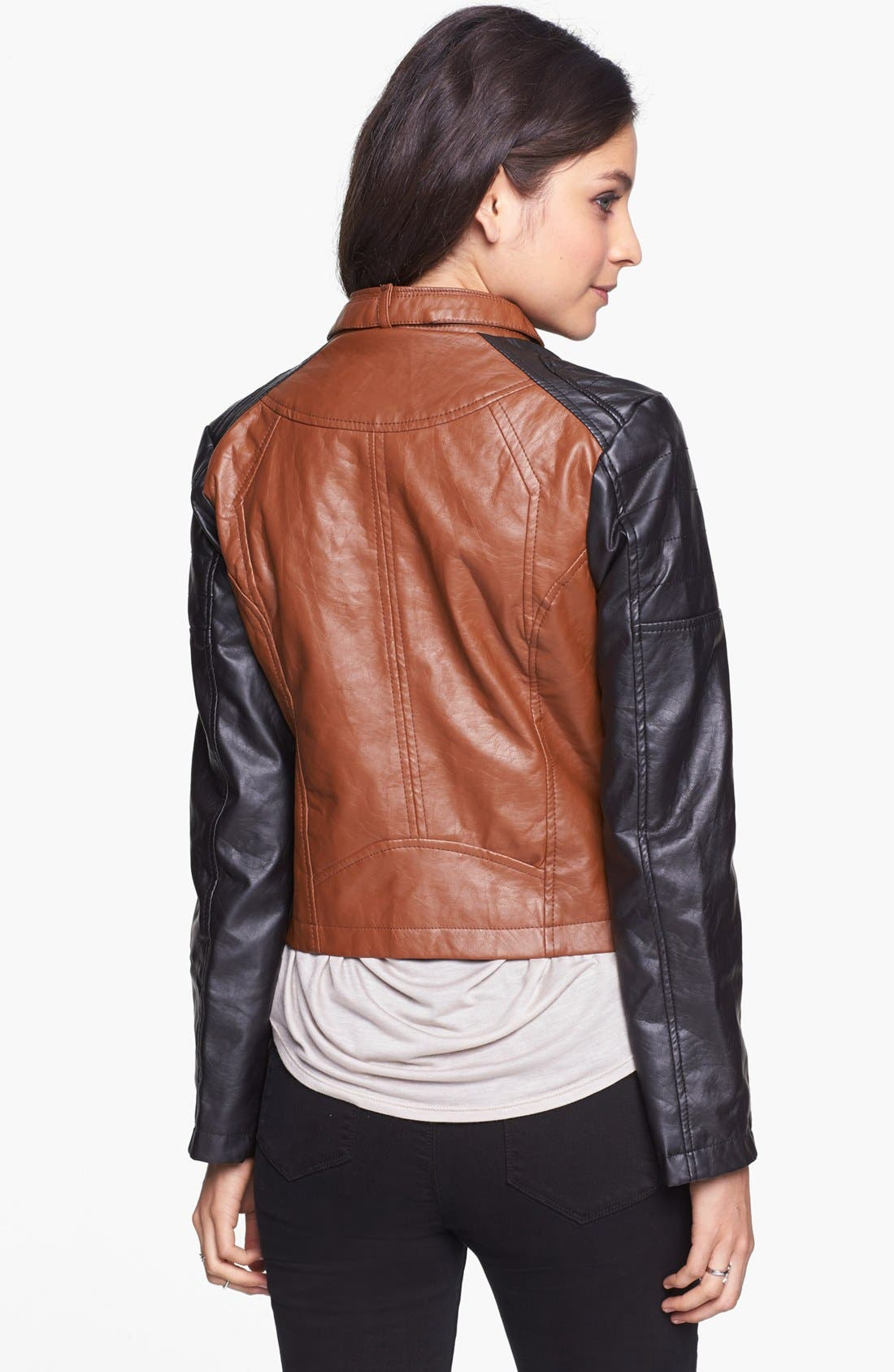 Alternate Image 2  - Dollhouse Two-Tone Faux Leather Moto Jacket (Juniors) (Online Only)