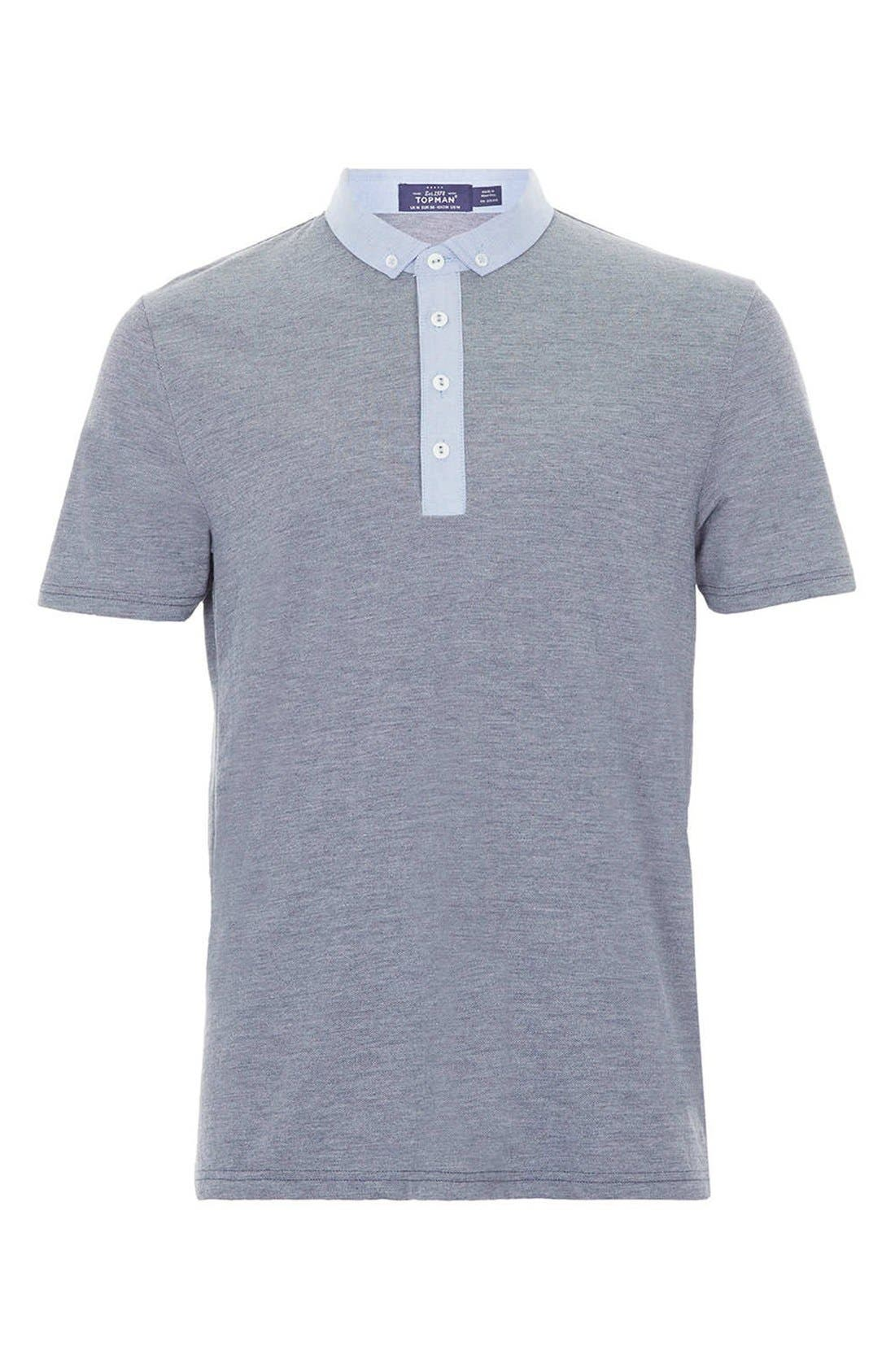 Main Image - Topman Chambray Trimmed Piqué Polo
