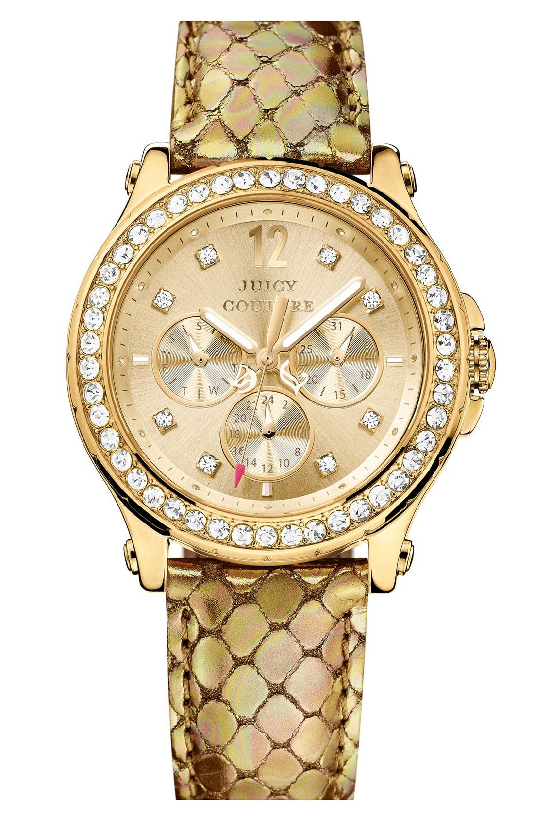 Main Image - Juicy Couture 'Pedigree' Crystal Bezel Embossed Strap Watch, 38mm