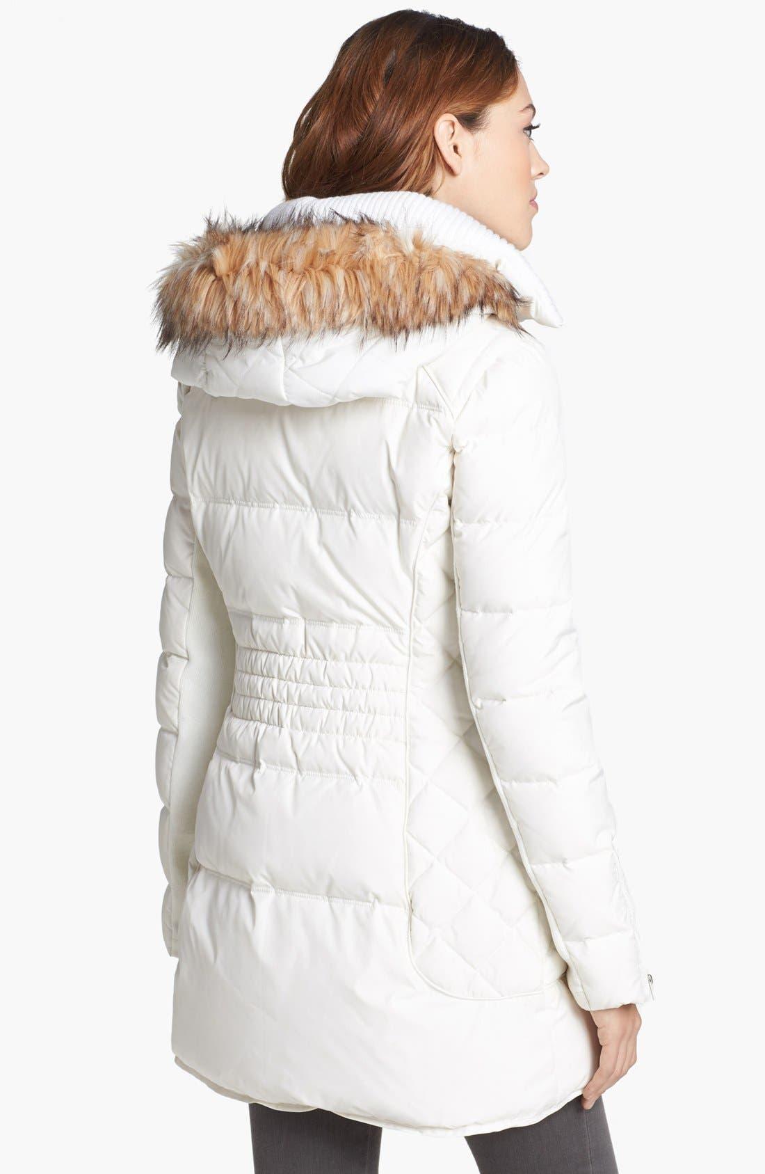 Alternate Image 2  - BCBGeneration Faux Fur Trim Quilted Walking Coat (Online Only)