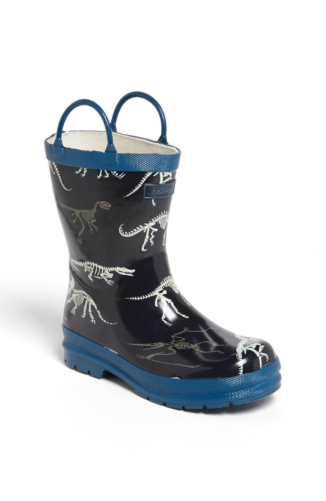 Alternate Image 1 Selected - Hatley 'Dino Bones' Rain Boot (Walker, Toddler & Little Kid)