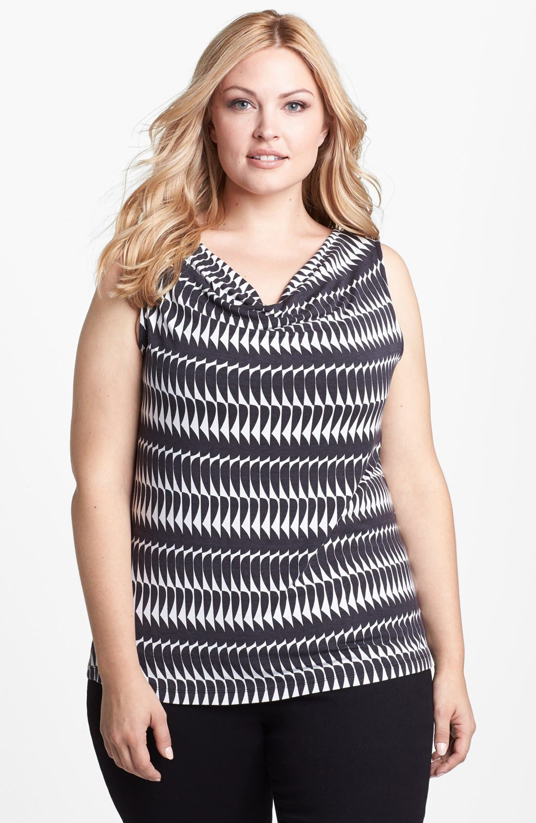 Main Image - Halogen® Drape Neck Print Top (Plus Size)