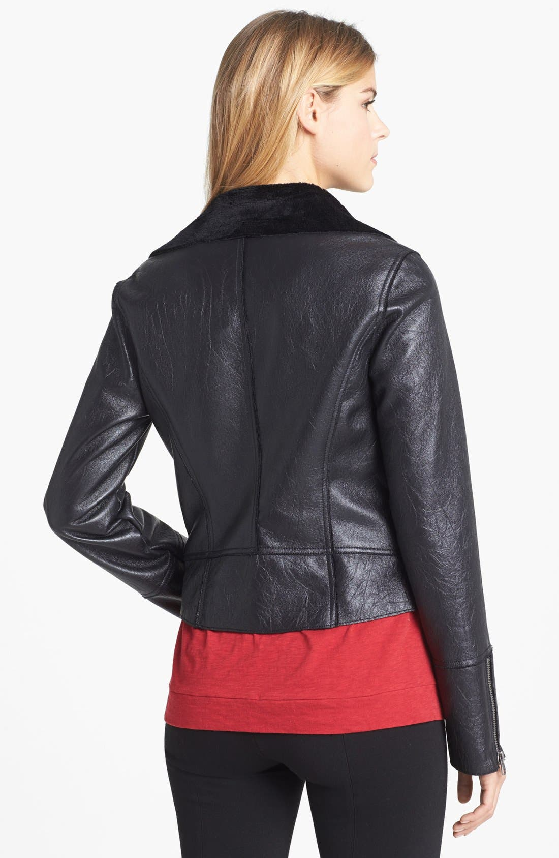 Alternate Image 2  - Two by Vince Camuto Faux Leather Moto Jacket
