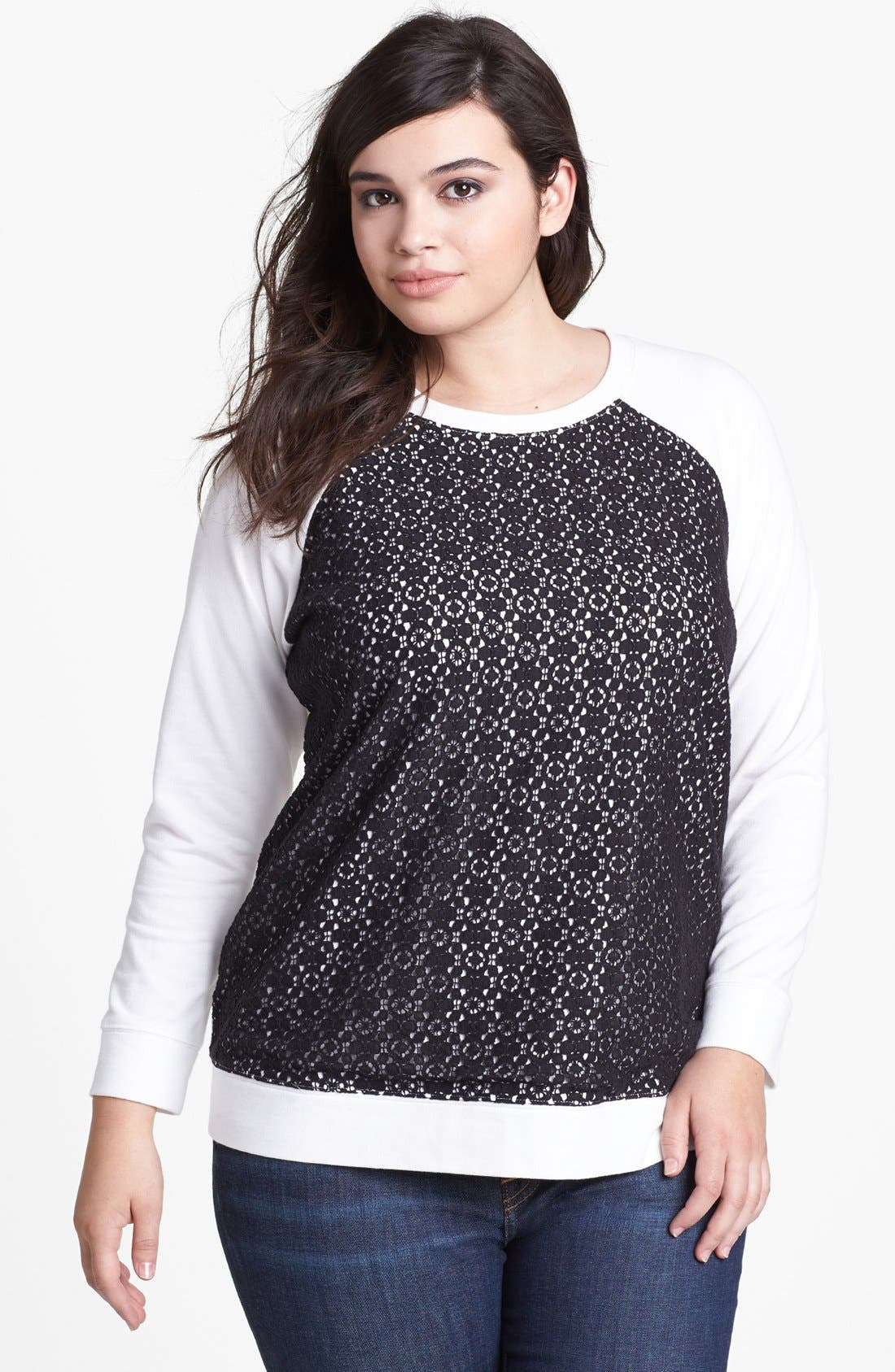 Alternate Image 1 Selected - Two by Vince Camuto Lace Panel Sweatshirt (Plus Size)