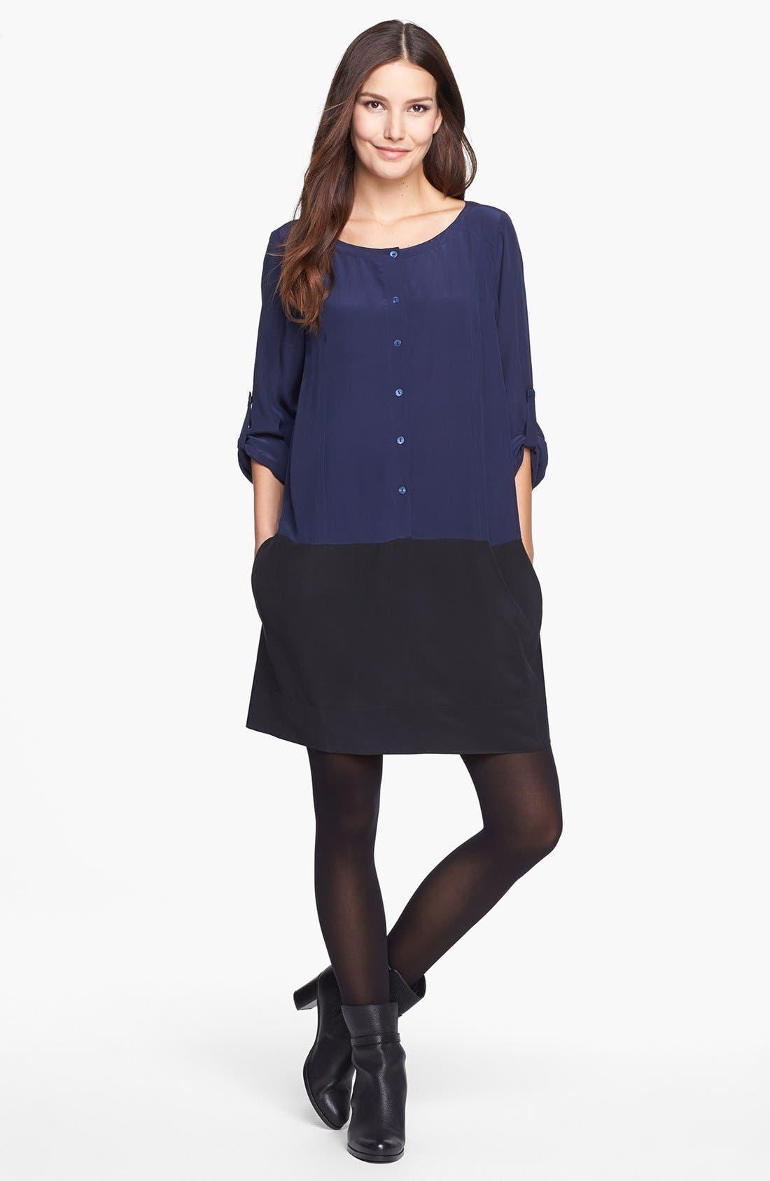 Main Image - Eileen Fisher Colorblock Silk Tunic Dress