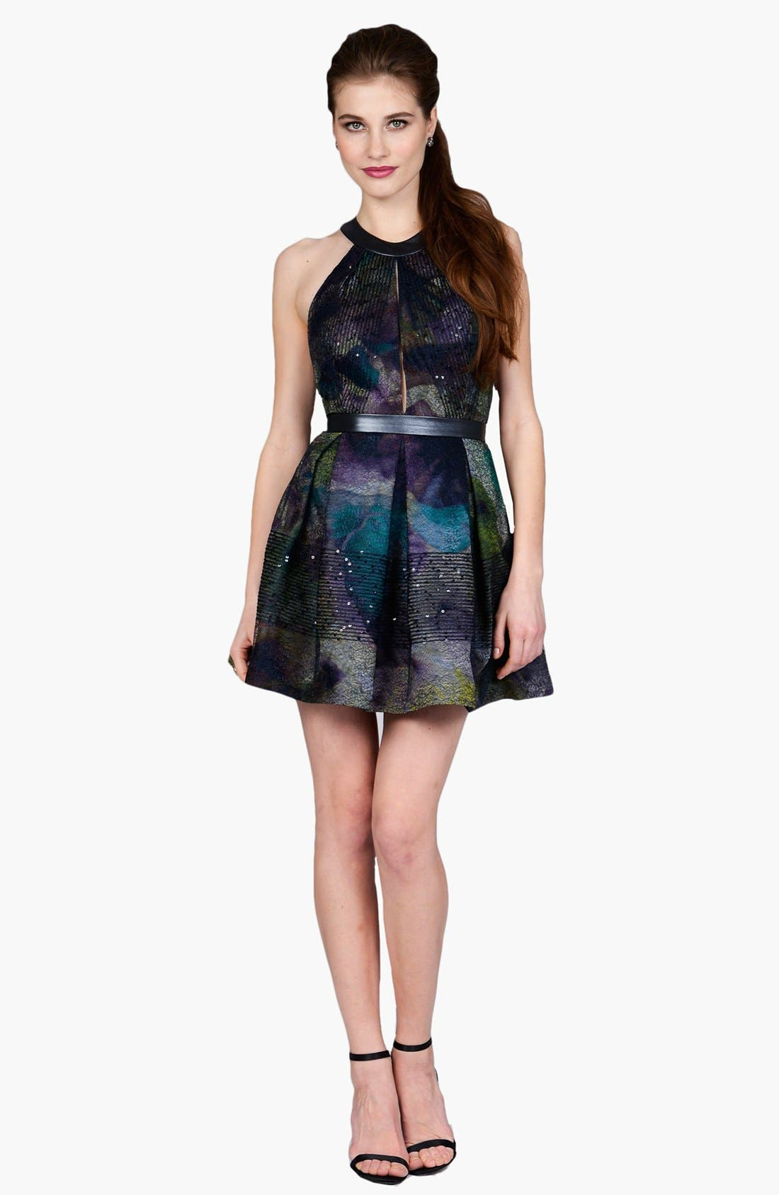 Main Image - Phoebe by Kay Unger Faux Leather Trim Print Fit & Flare Dress