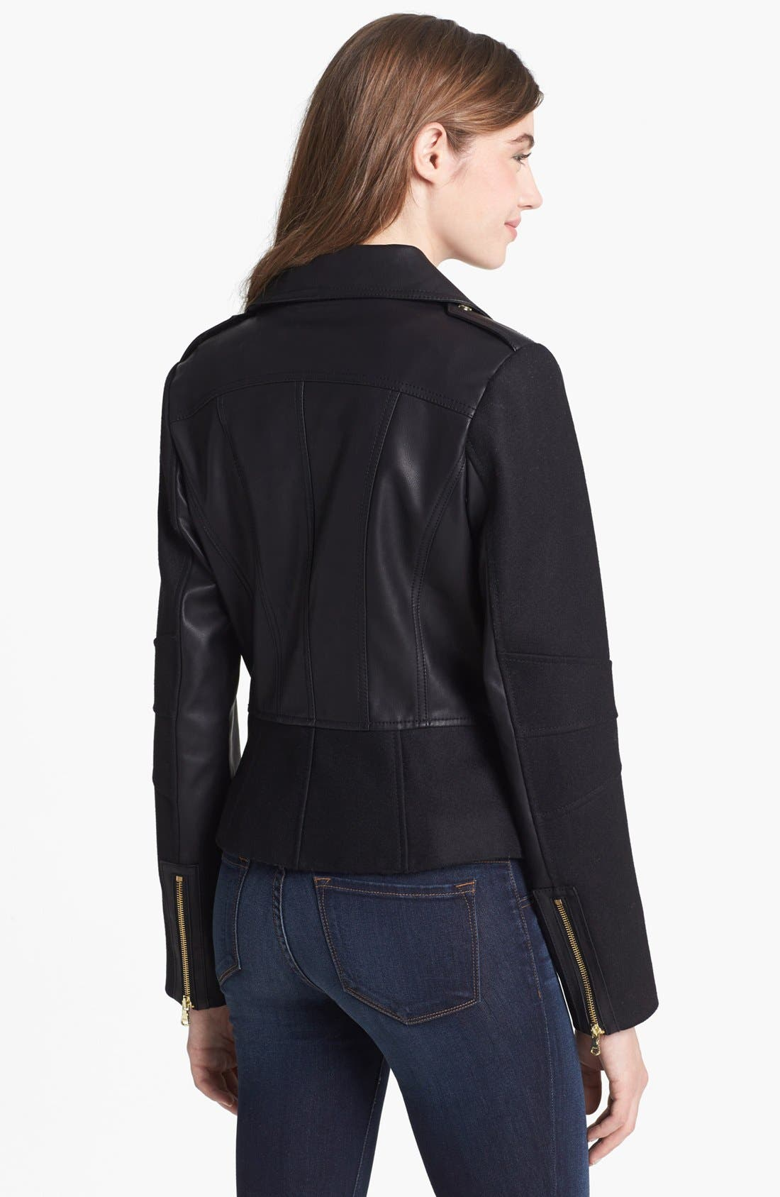 Alternate Image 2  - GUESS Faux Leather & Wool Blend Moto Jacket