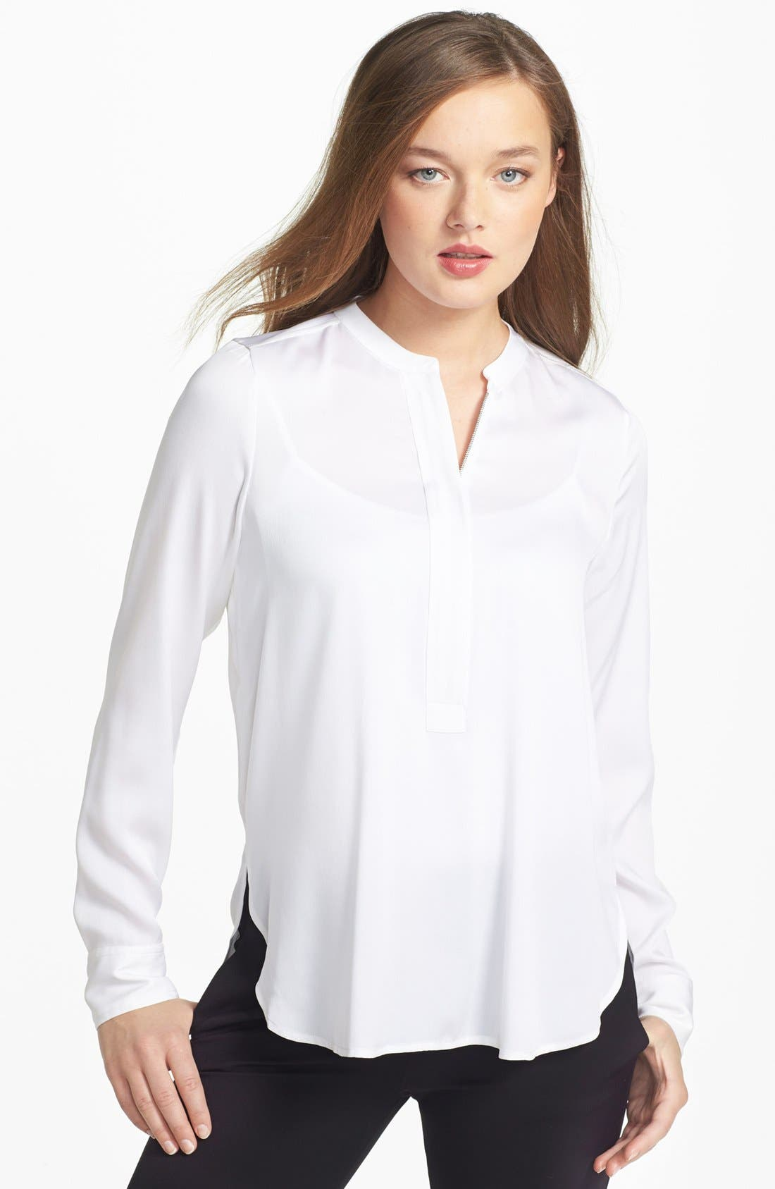 Alternate Image 1 Selected - Vince Zip Detail Stretch Silk Top