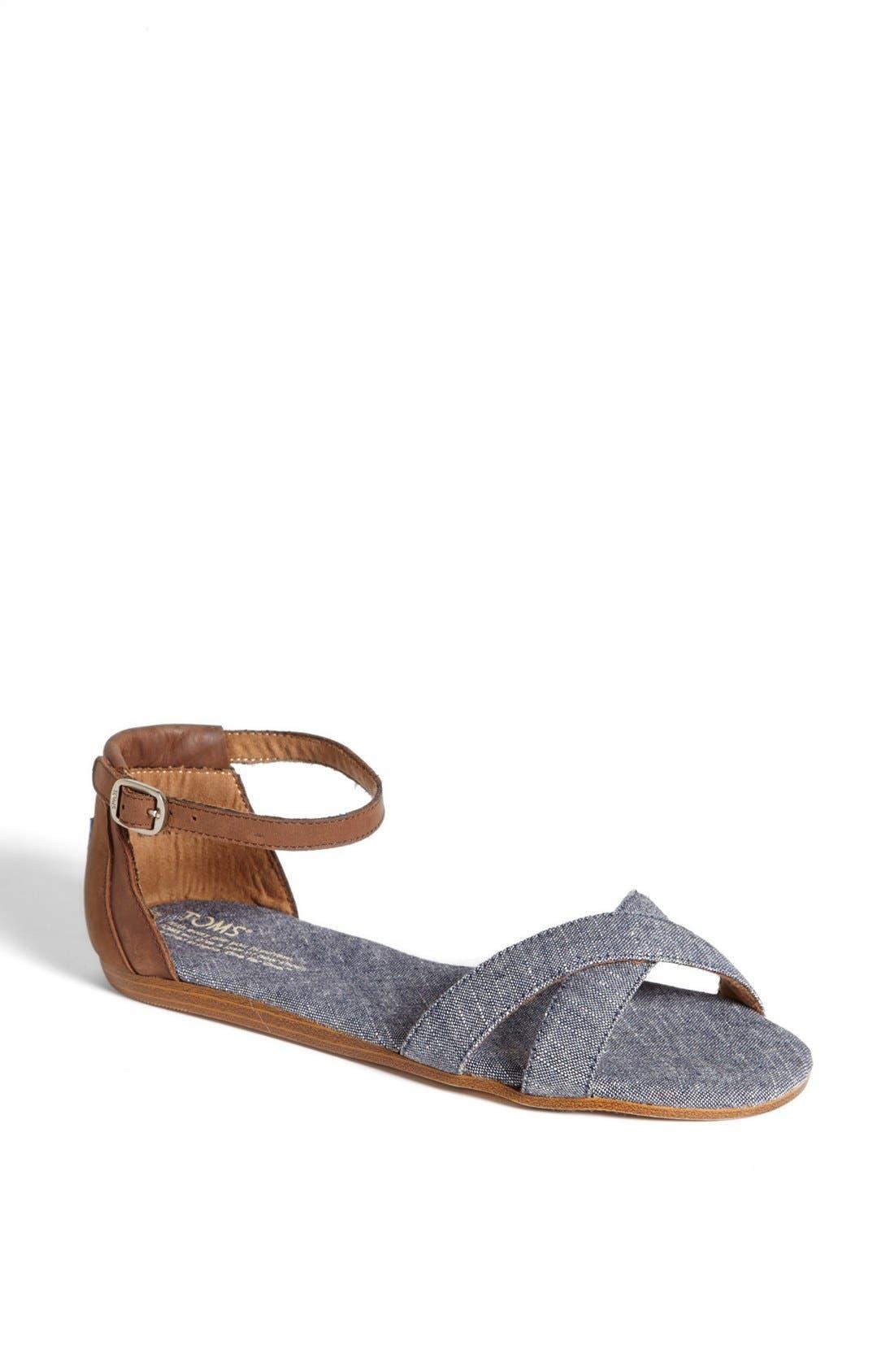 Alternate Image 1 Selected - TOMS 'Correa' Ankle Strap Flat Sandal