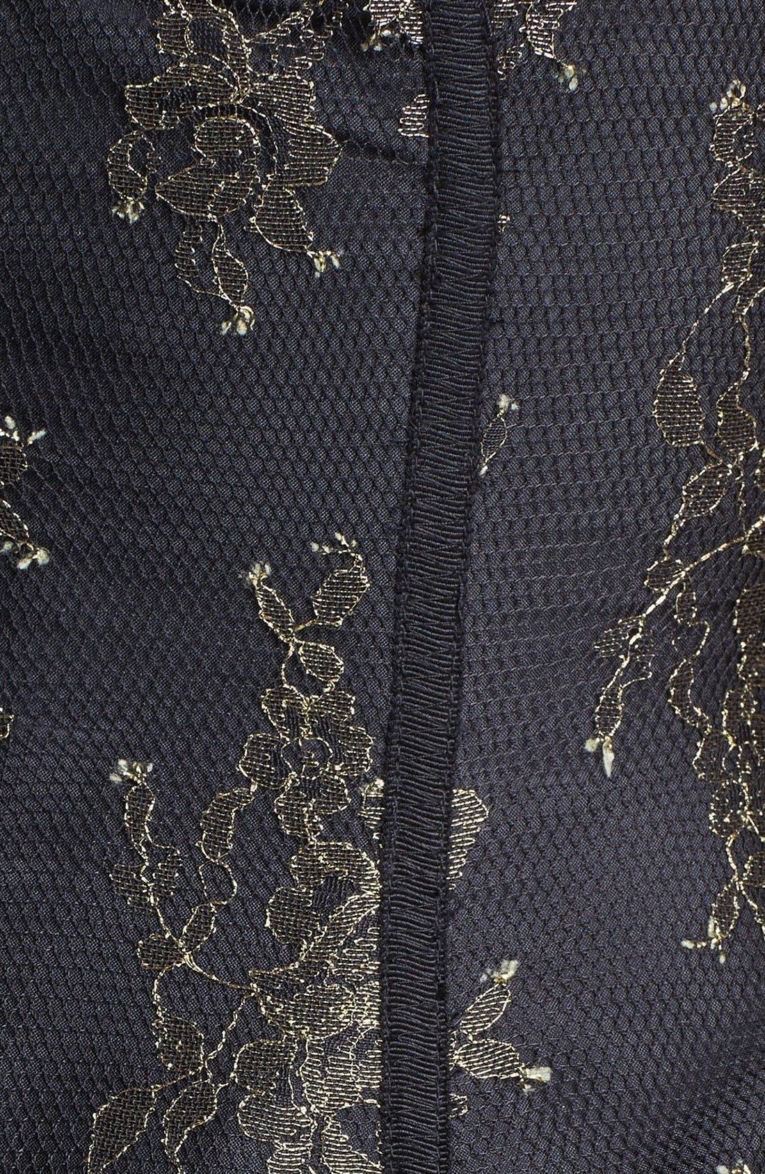 Alternate Image 3  - ML Monique Lhuillier Illusion Yoke Metallic Lace Dress