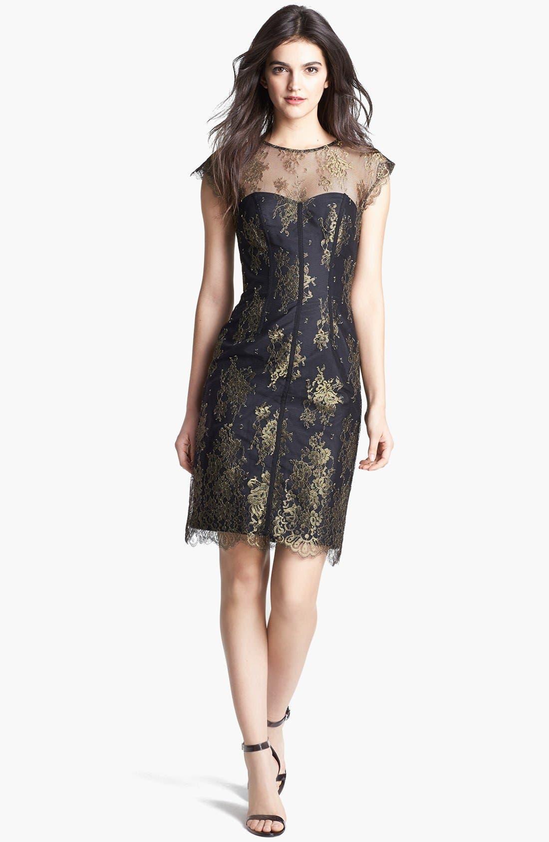 Main Image - ML Monique Lhuillier Illusion Yoke Metallic Lace Dress