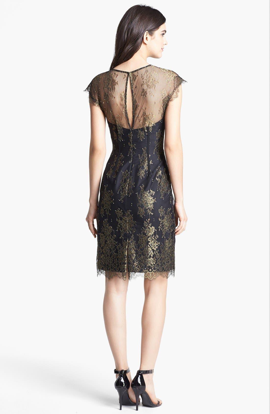 Alternate Image 2  - ML Monique Lhuillier Illusion Yoke Metallic Lace Dress