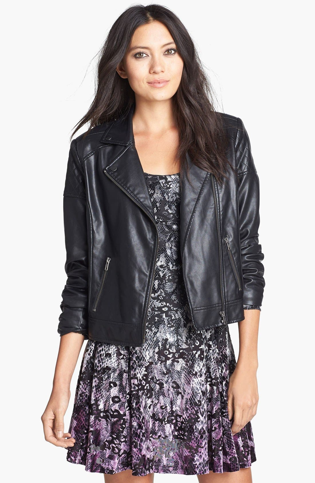 Alternate Image 1 Selected - Mural Quilted Shoulder Faux Leather Moto Jacket