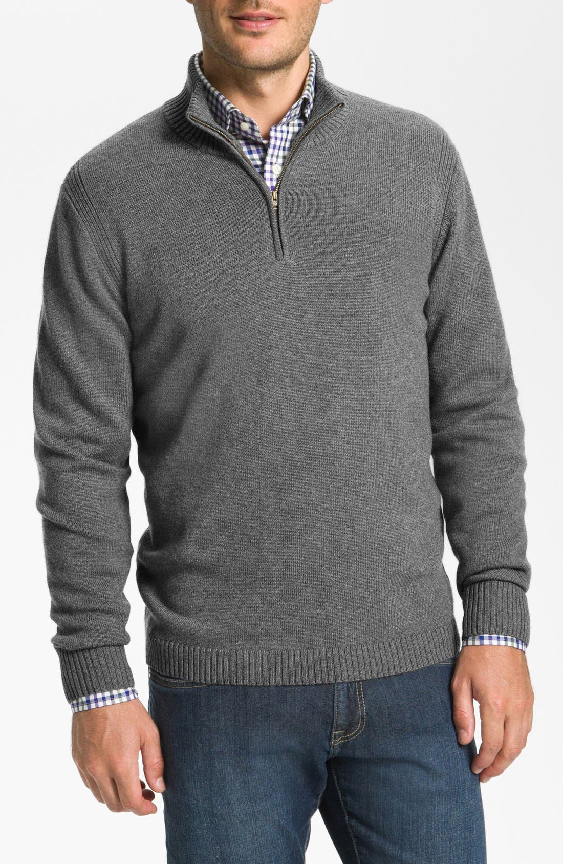 Alternate Image 1 Selected - Façonnable Half Zip Classique Fit Merino Wool Sweater