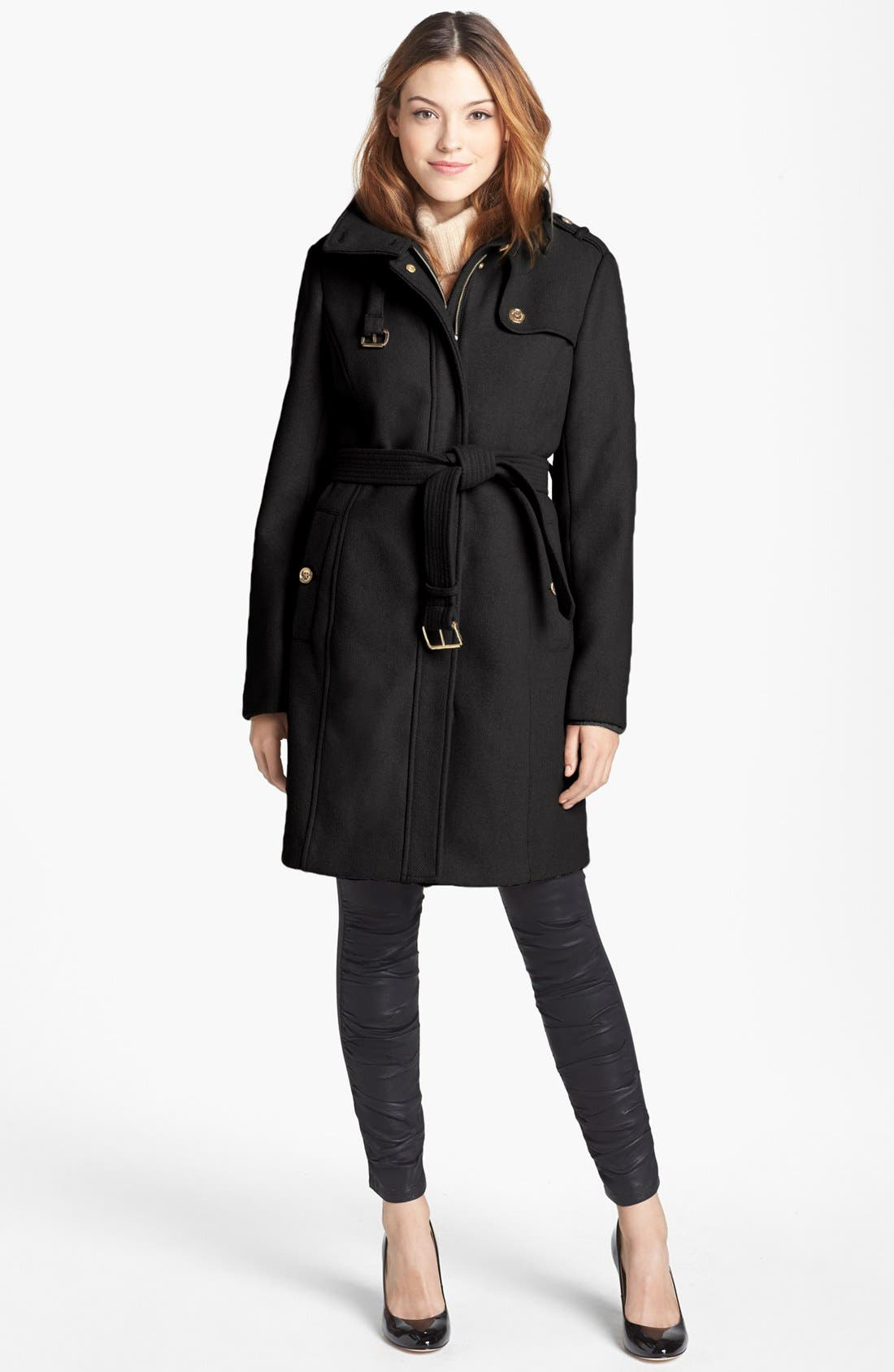 Main Image - MICHAEL Michael Kors Wool Blend Military Trench Coat (Petite) (Nordstrom Exclusive)