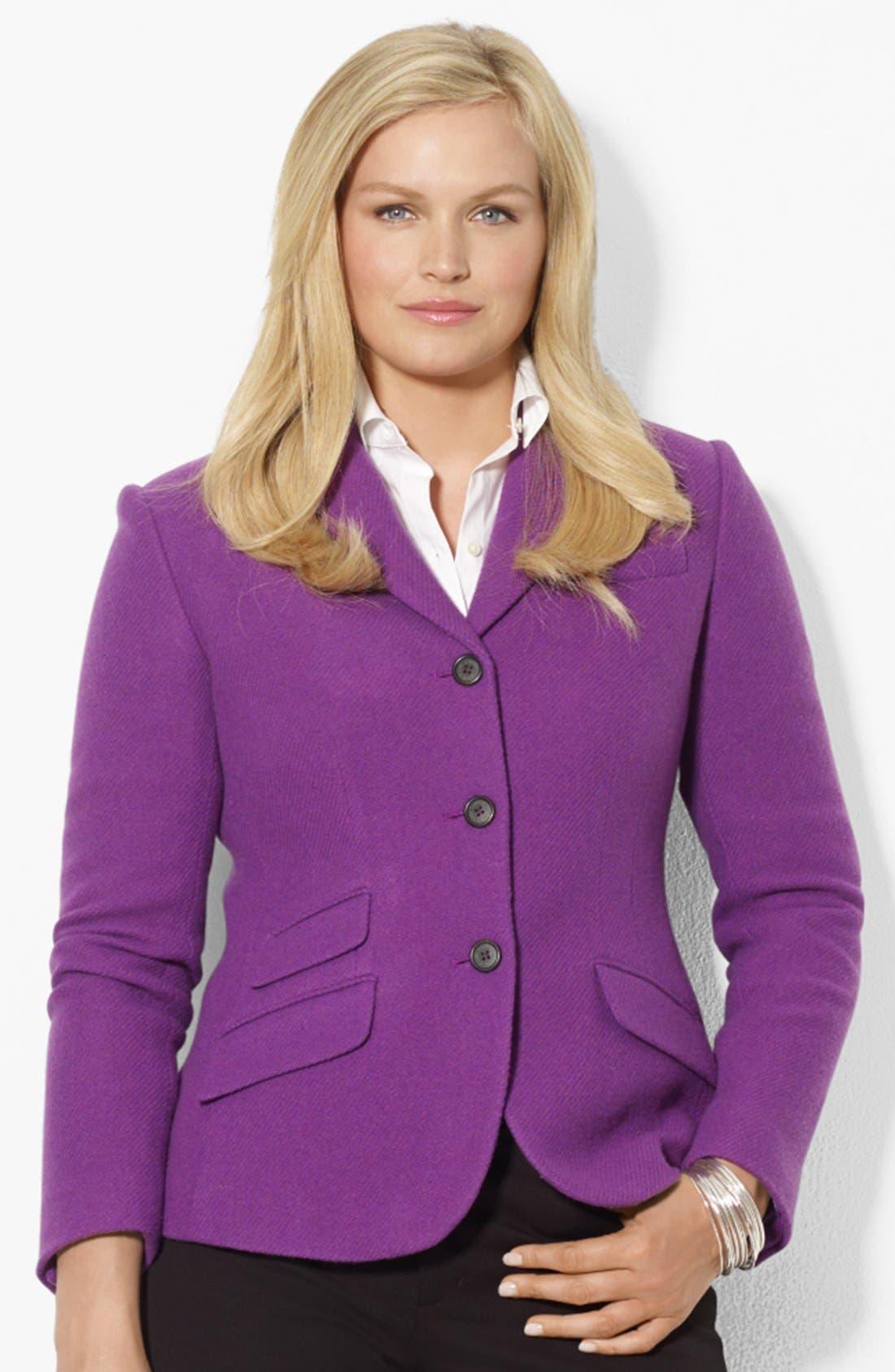 Alternate Image 1 Selected - Lauren Ralph Lauren Wool Blend Hacking Jacket (Plus Size)