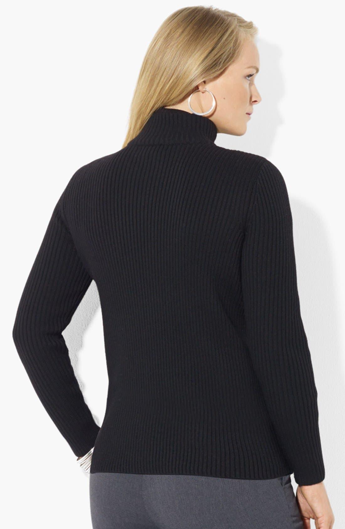 Alternate Image 2  - Lauren Ralph Lauren Leather Front Cardigan (Plus Size)
