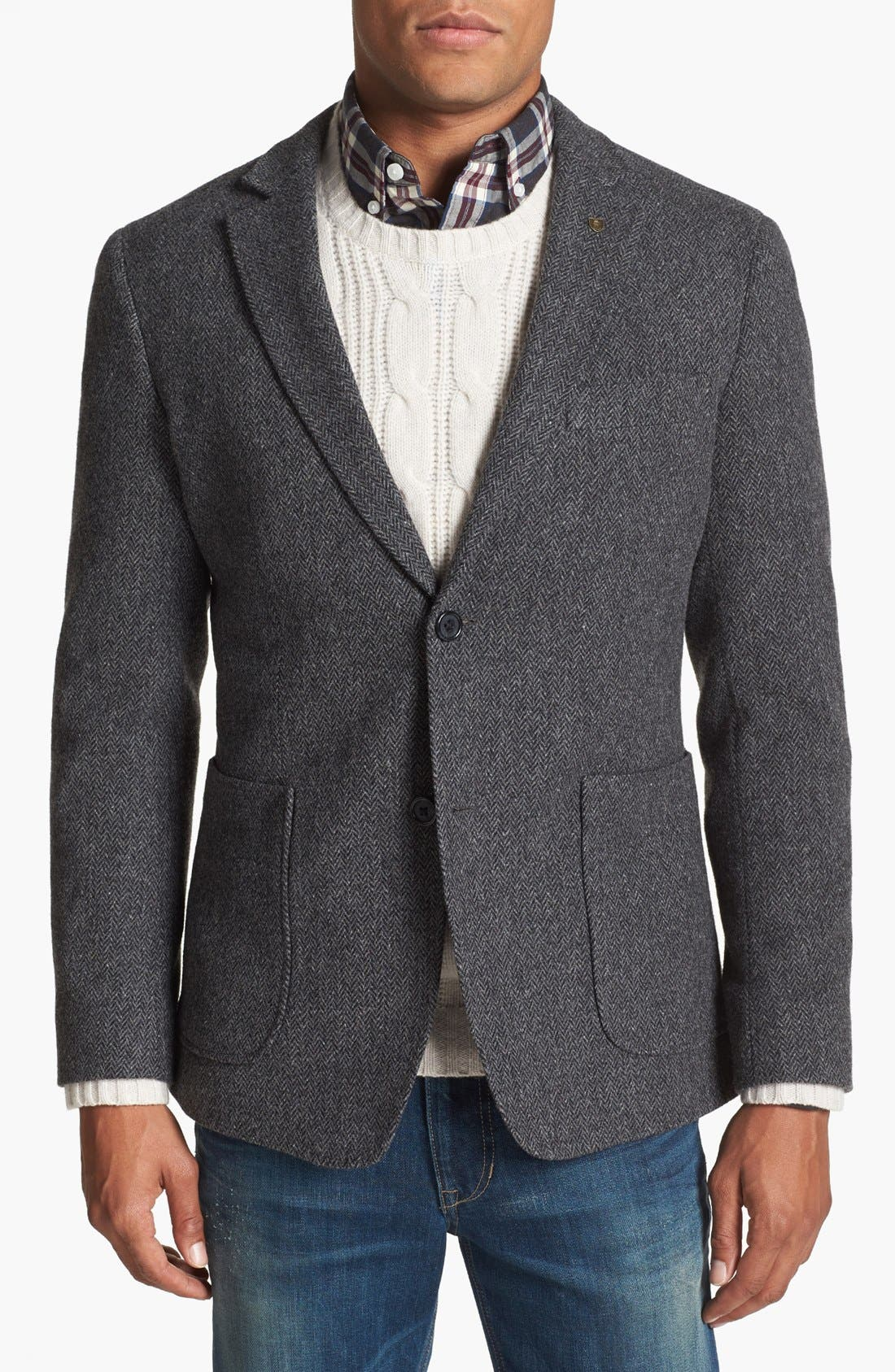 Main Image - Wallin & Bros. Extra Trim Fit Herringbone Sportcoat