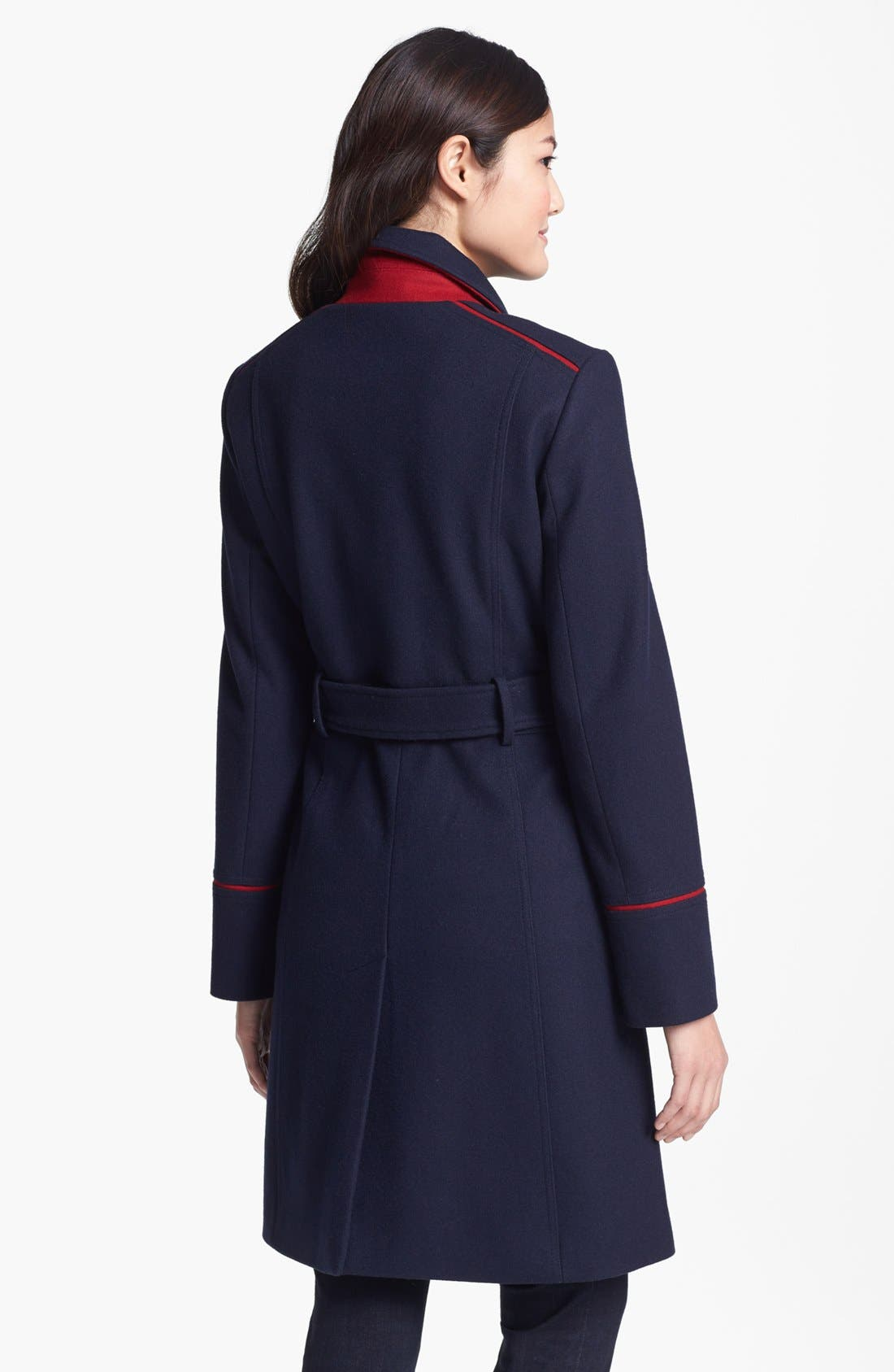 Alternate Image 3  - Vince Camuto Contrast Piping Belted Military Coat