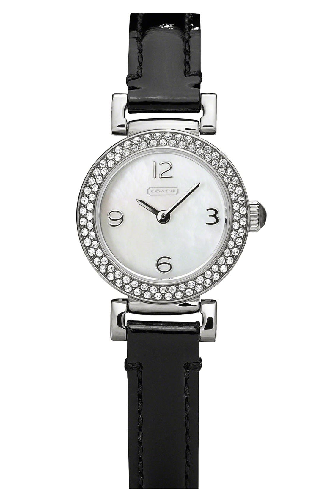 Main Image - COACH 'Madison' Round Crystal Bezel Leather Strap Watch, 23mm