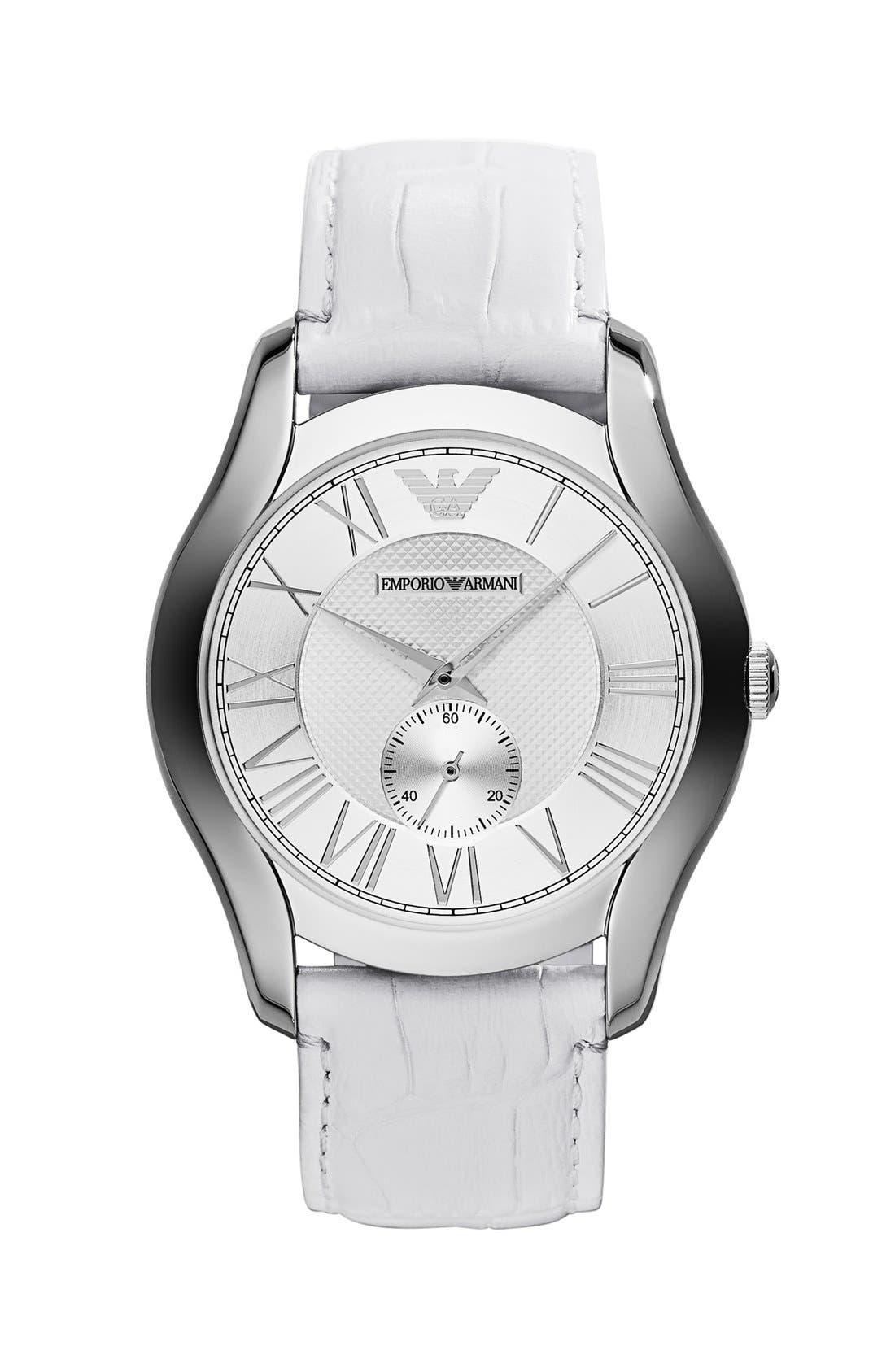Main Image - Emporio Armani Round Leather Strap Watch, 43mm