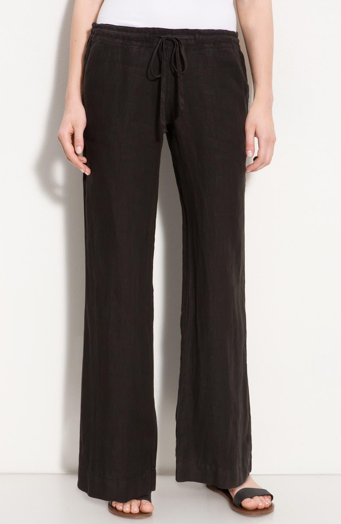 Alternate Image 1 Selected - Allen Allen Drawstring Linen Pants (Petite)