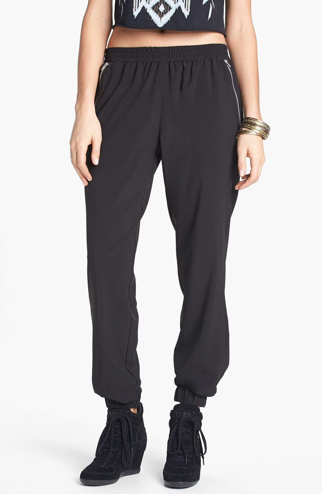 Alternate Image 1 Selected - Lily White Zip Pocket Track Pants (Juniors)