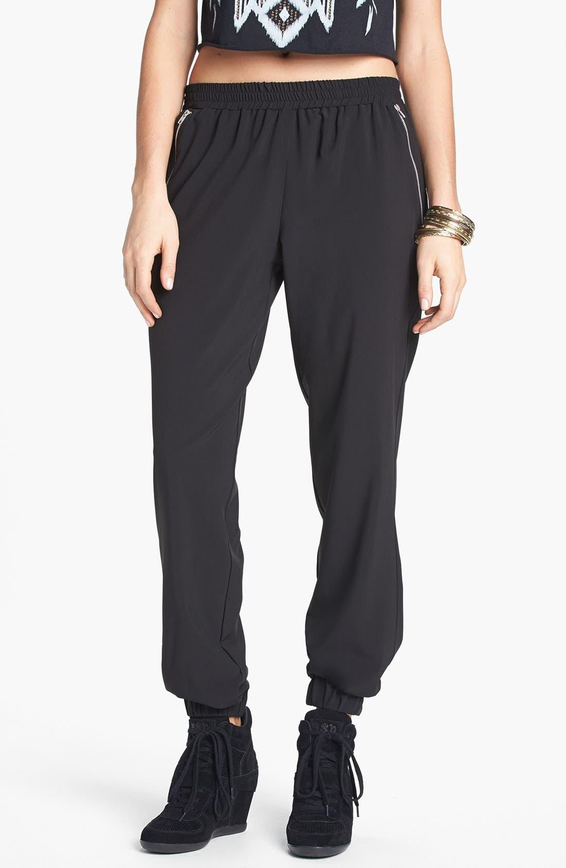 Main Image - Lily White Zip Pocket Track Pants (Juniors)