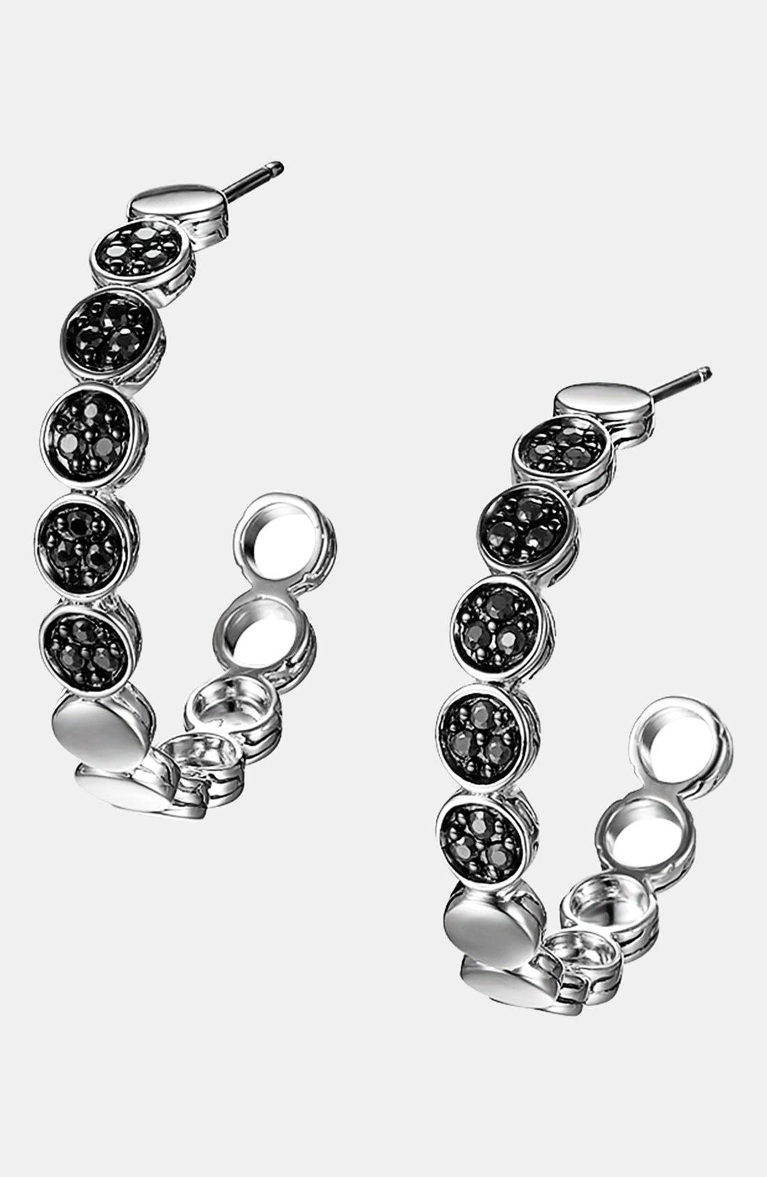 Alternate Image 1 Selected - John Hardy 'Dot Silver Lava' Black Sapphire Hoop Earrings