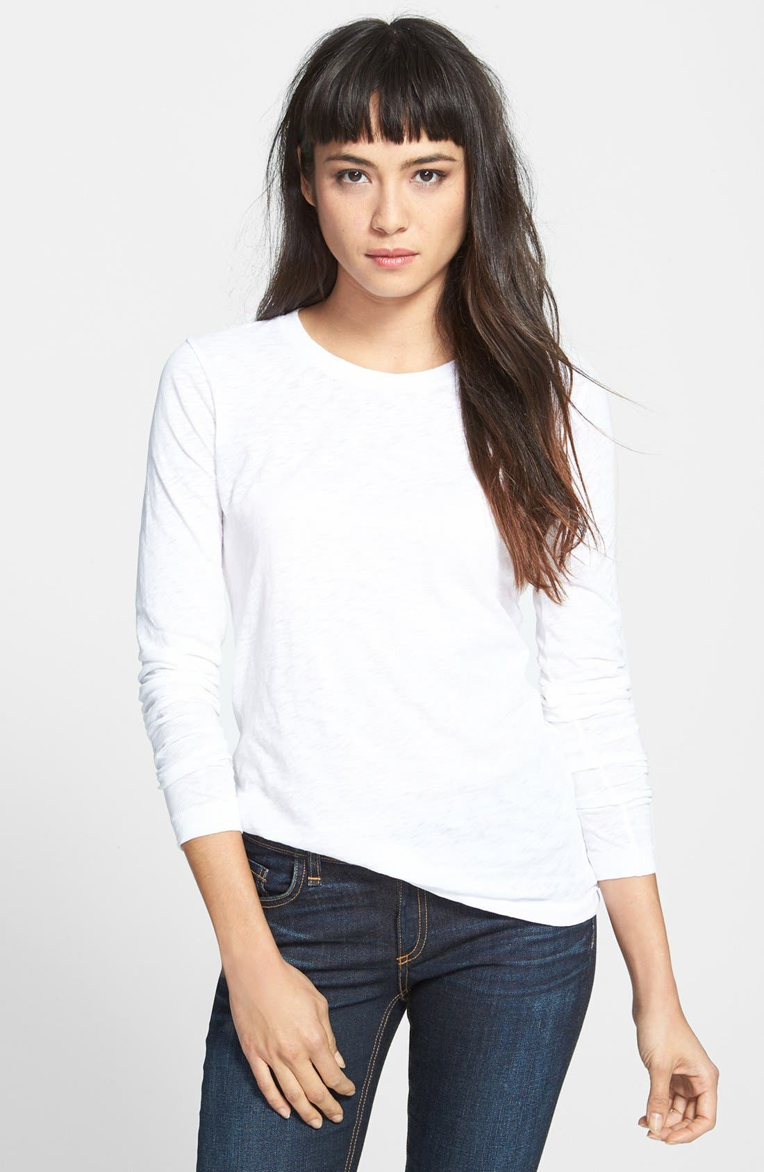 Alternate Image 1 Selected - rag & bone/JEAN Long Sleeve Burnout Tee