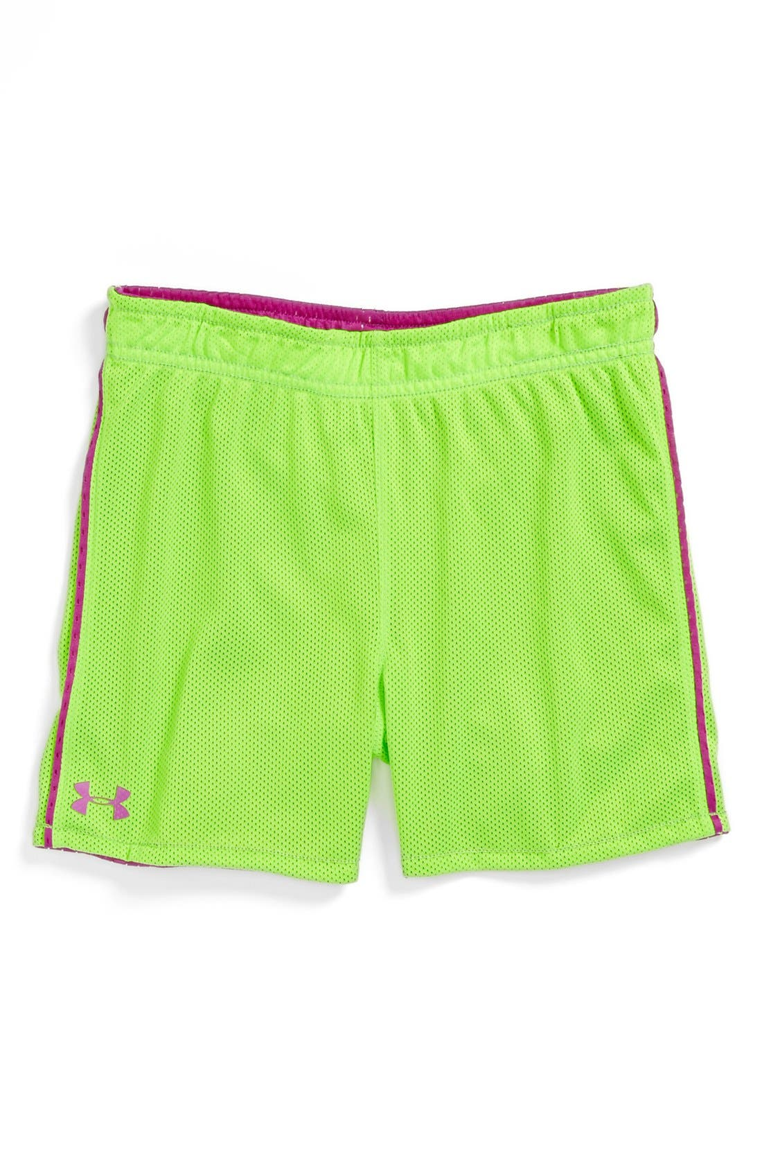 Alternate Image 1 Selected - Under Armour Reversible Mesh Shorts (Little Girls)