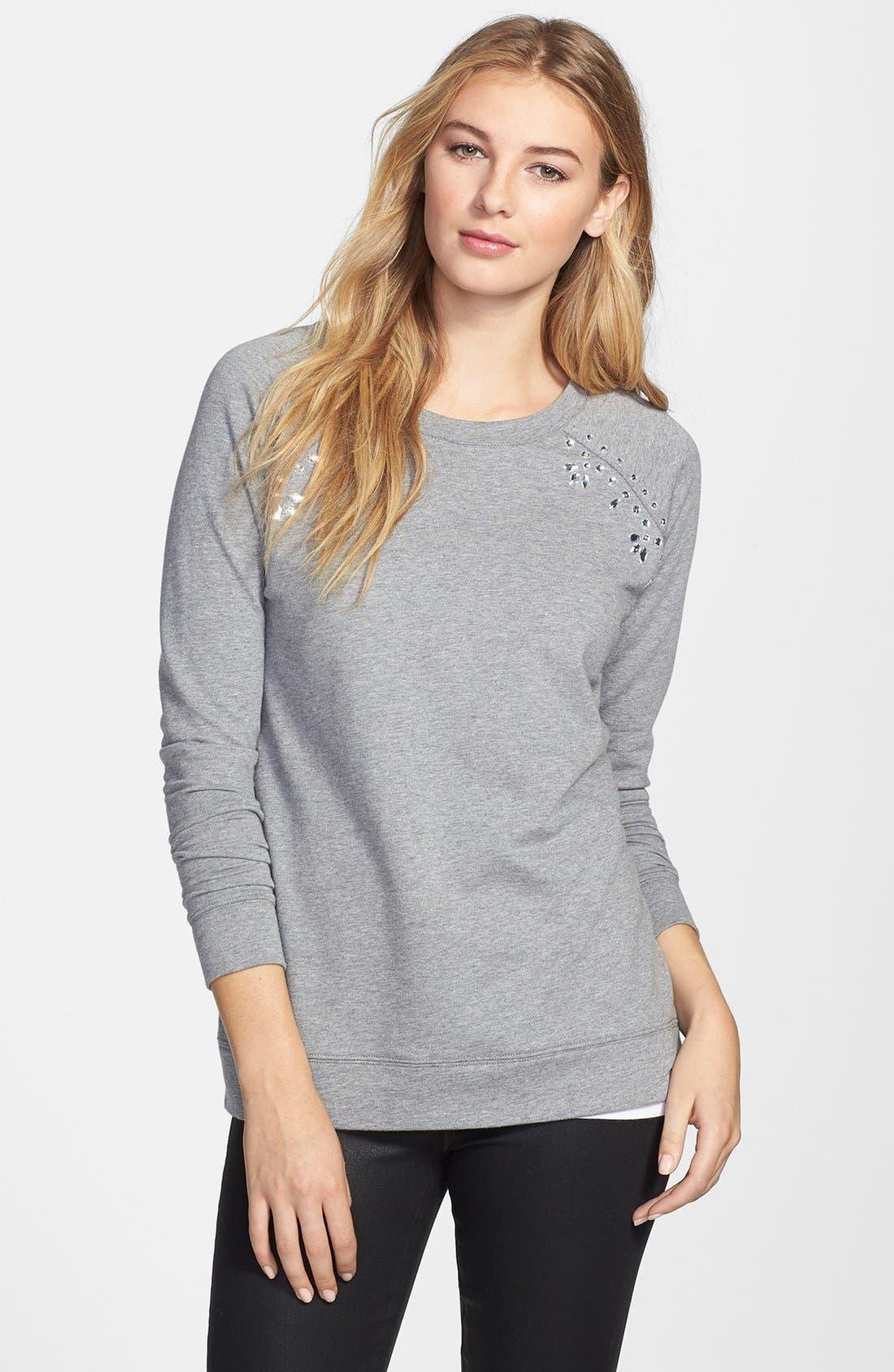 Alternate Image 1 Selected - Two by Vince Camuto Embellished Raglan Sleeve Cotton Blend Sweatshirt