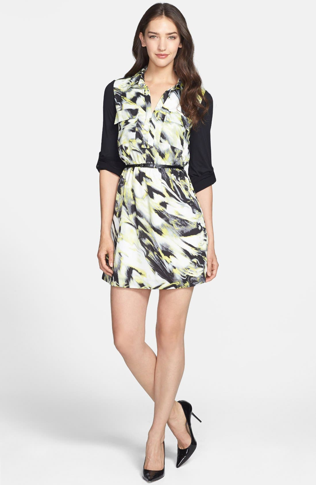 Main Image - kensie Knit Sleeve Belted Print Twill Shirtdress
