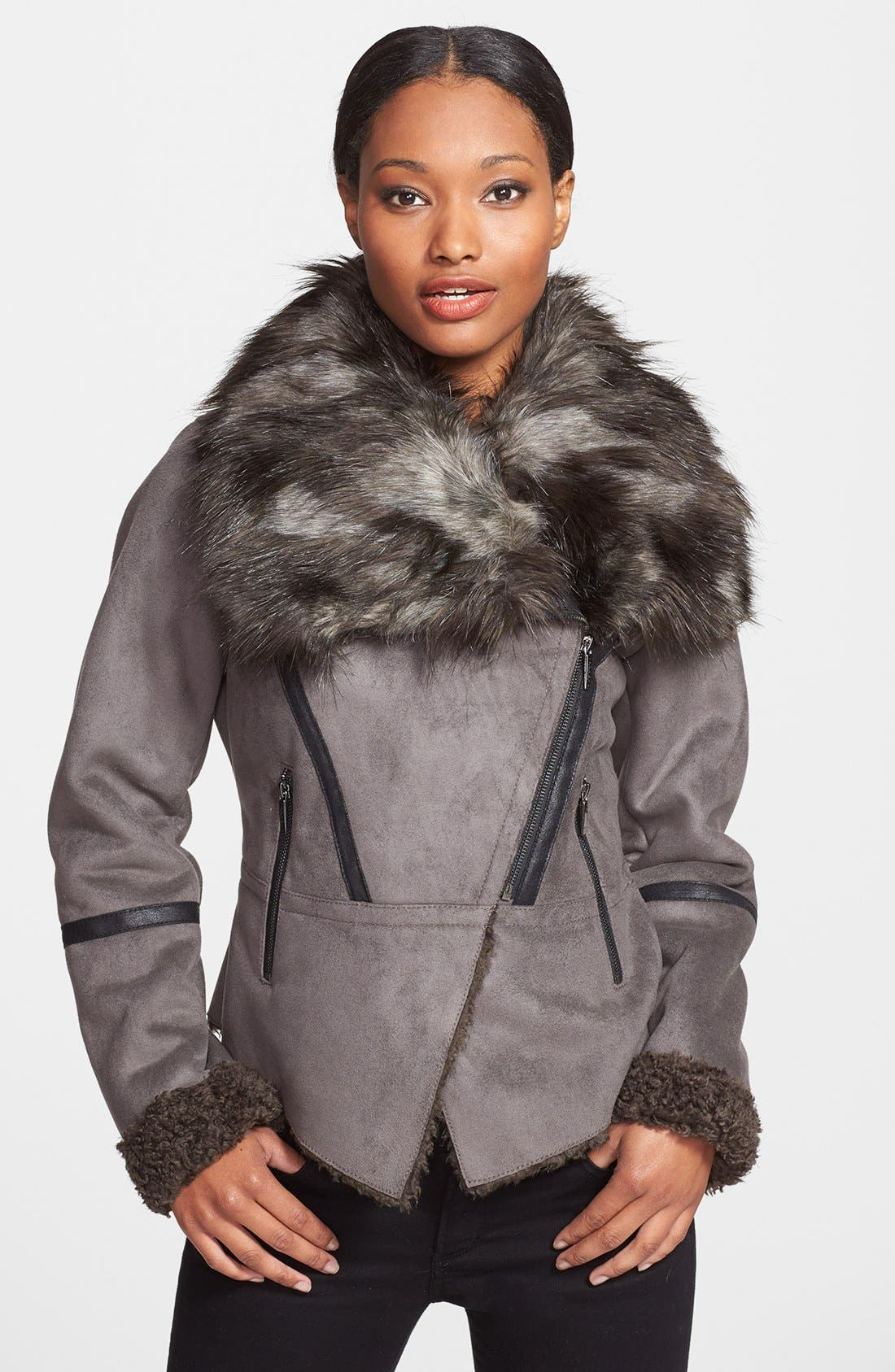 Main Image - Laundry by Shelli Segal Faux Shearling Asymmetrical Jacket (Online Only)