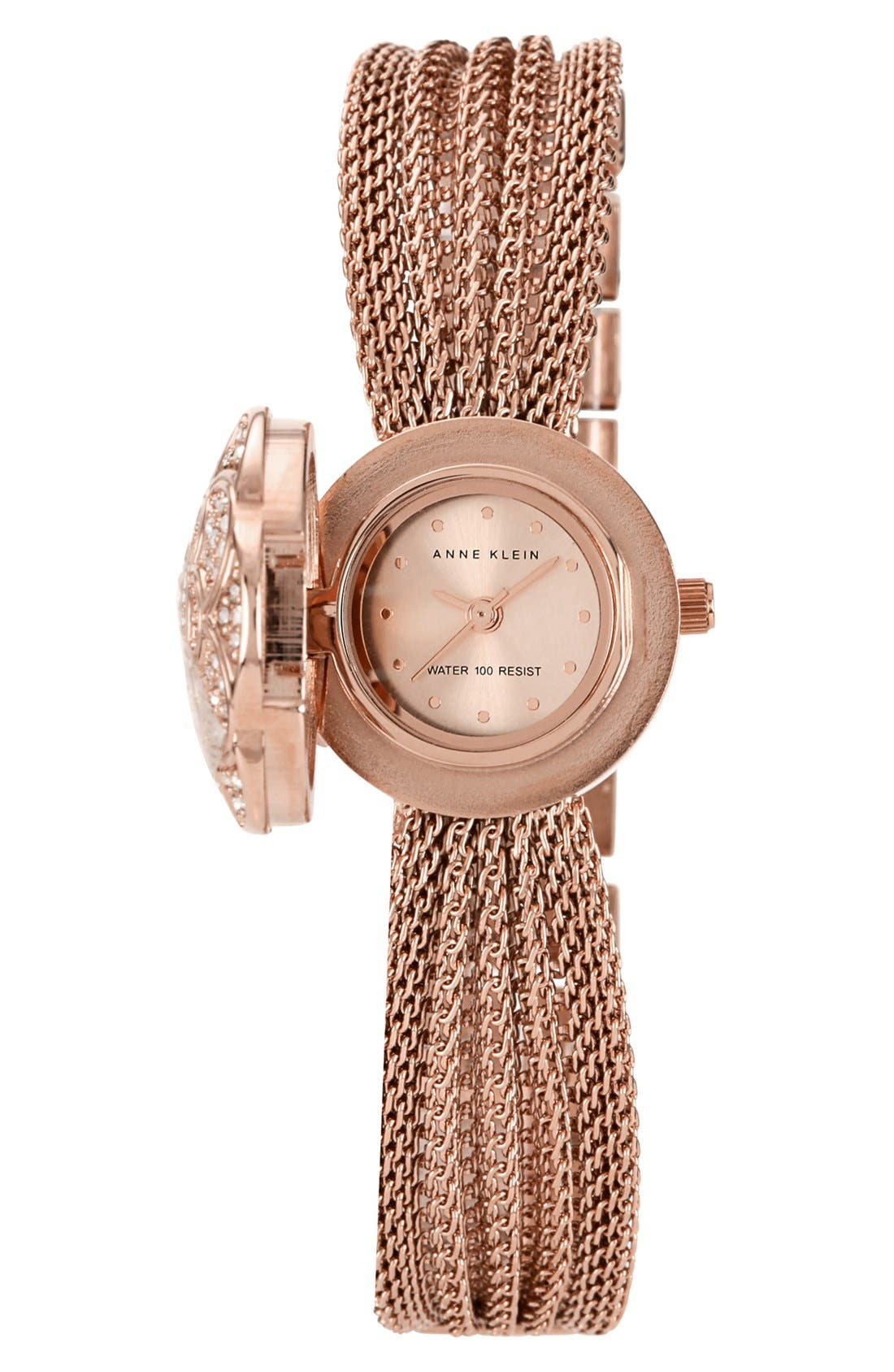 Alternate Image 1 Selected - Anne Klein Flower Case Chain Bracelet Watch