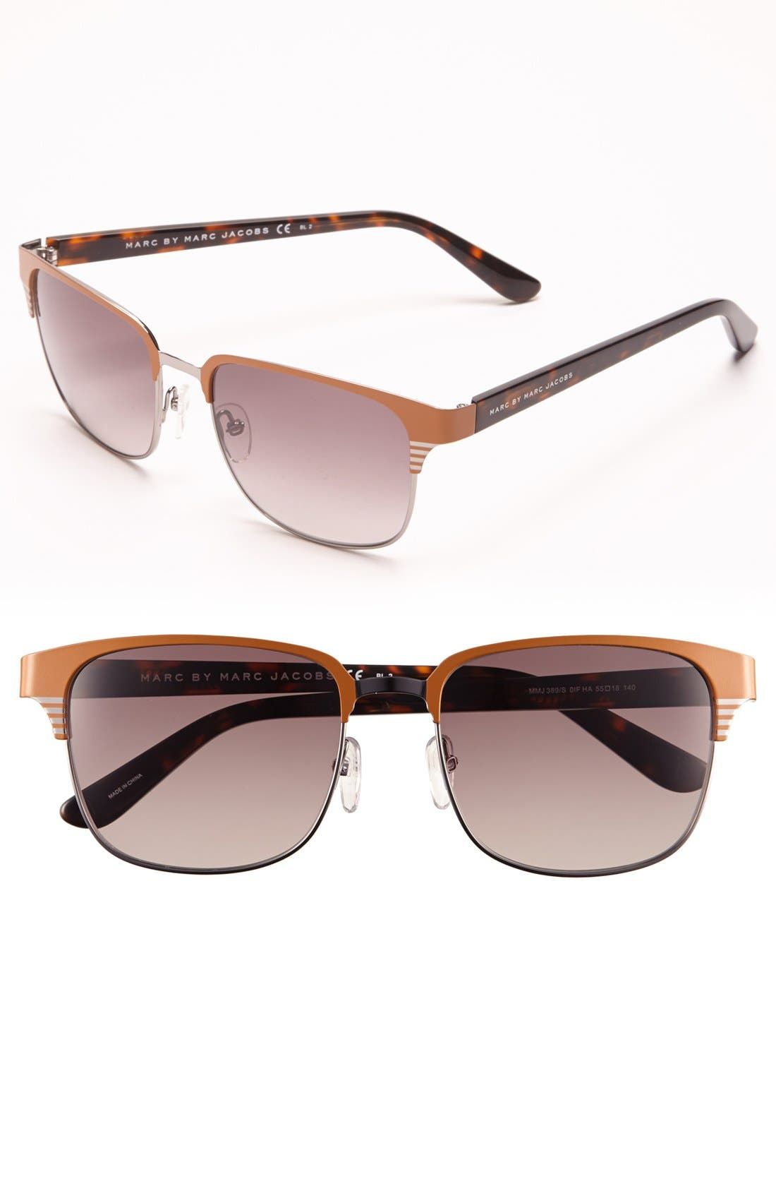 Main Image - MARC BY MARC JACOBS 55mm Stainless Steel Sunglasses