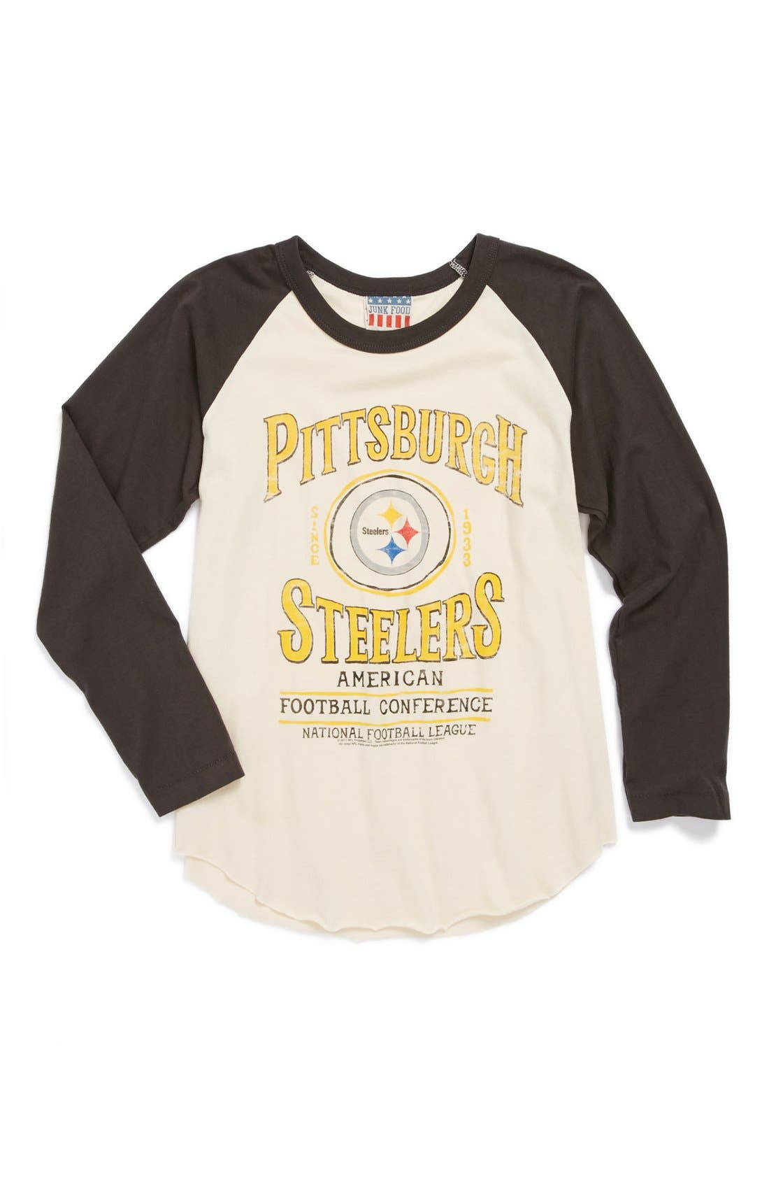 Alternate Image 1 Selected - Junk Food 'Pittsburgh Steelers' Raglan Long Sleeve T-Shirt (Little Boys & Big Boys)