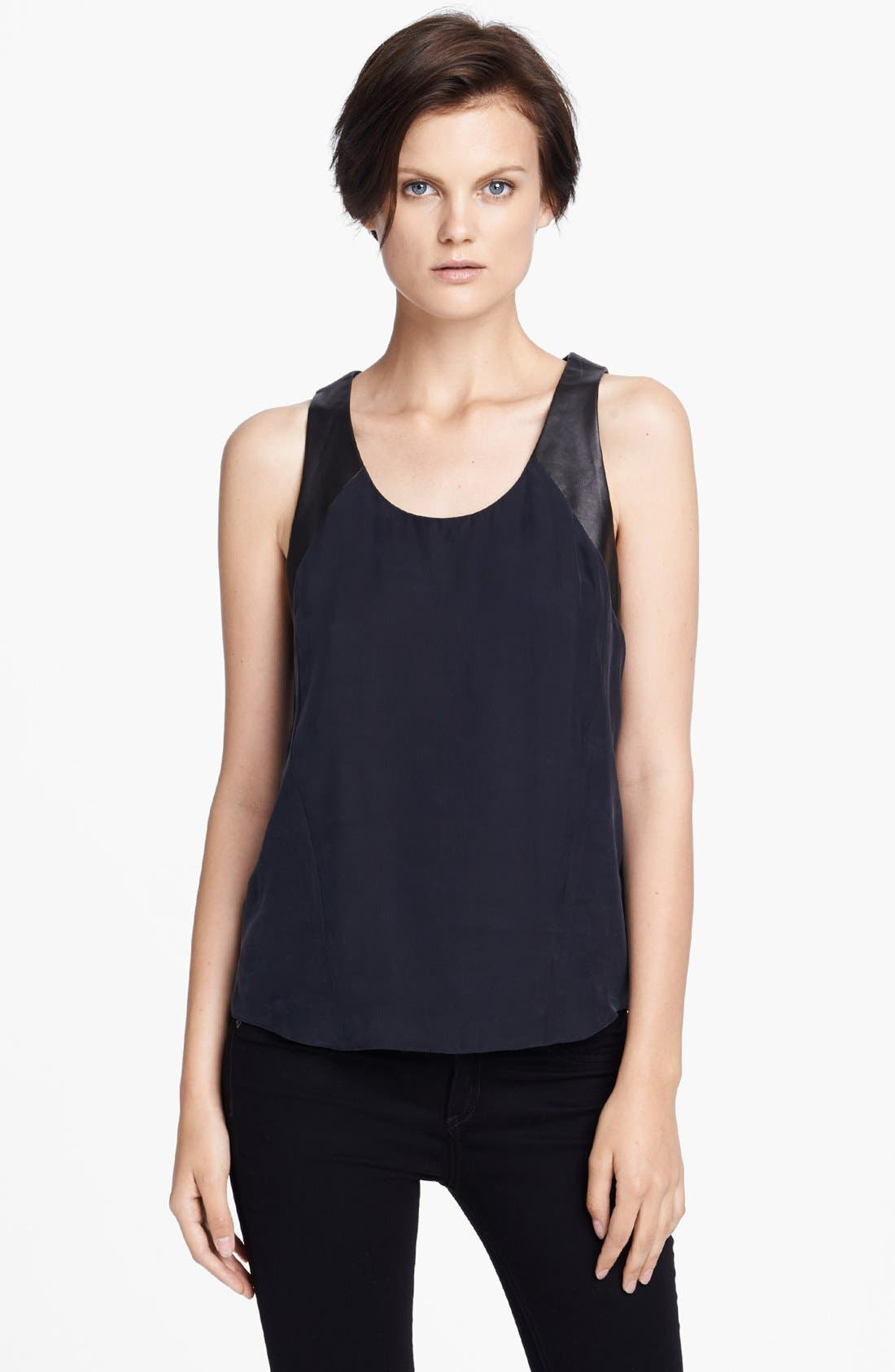 Main Image - rag & bone 'Jade' Leather Trim Silk Tank (Nordstrom Exclusive)