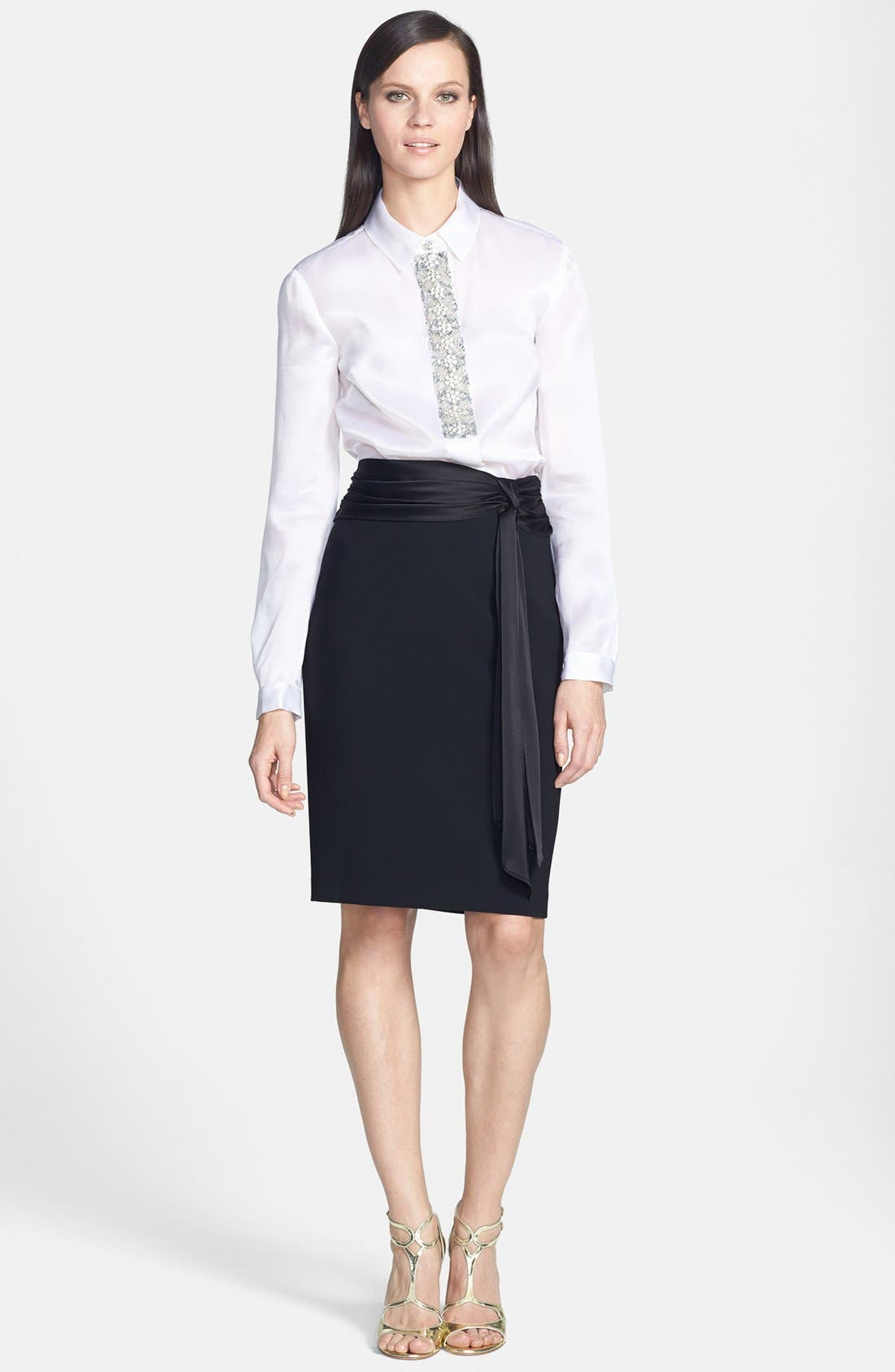 Alternate Image 2  - St. John Collection Crepe Marocain Pencil Skirt with Liquid Satin Bow