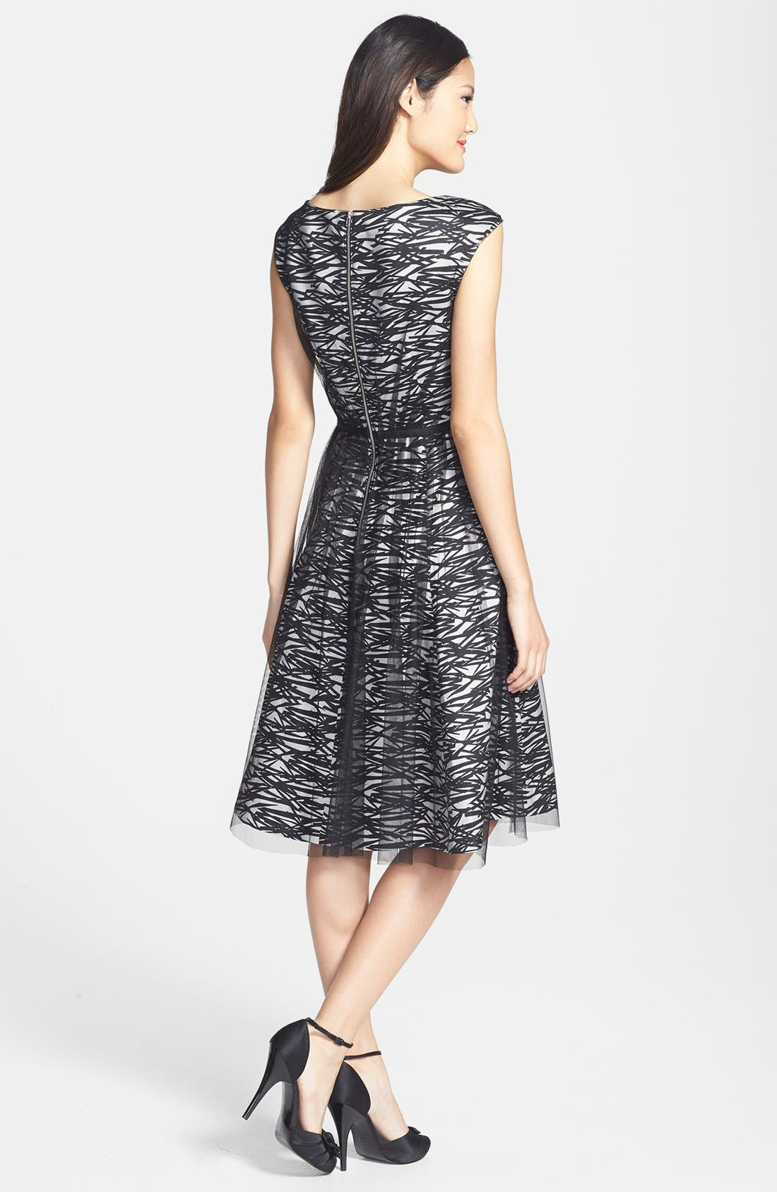 Alternate Image 2  - Maggy London Mesh Overlay Print Taffeta Fit & Flare Dress (Regular & Petite)