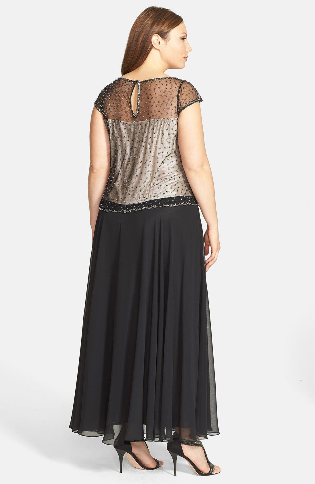 Alternate Image 2  - J Kara Embellished Chiffon Gown (Plus Size)