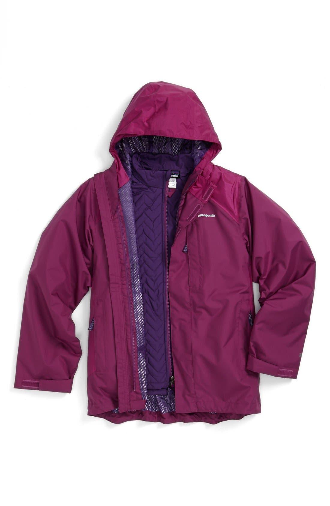 Alternate Image 1 Selected - Patagonia Waterproof 3-in-1 Snowsport Jacket (Little Girls & Big Girls)