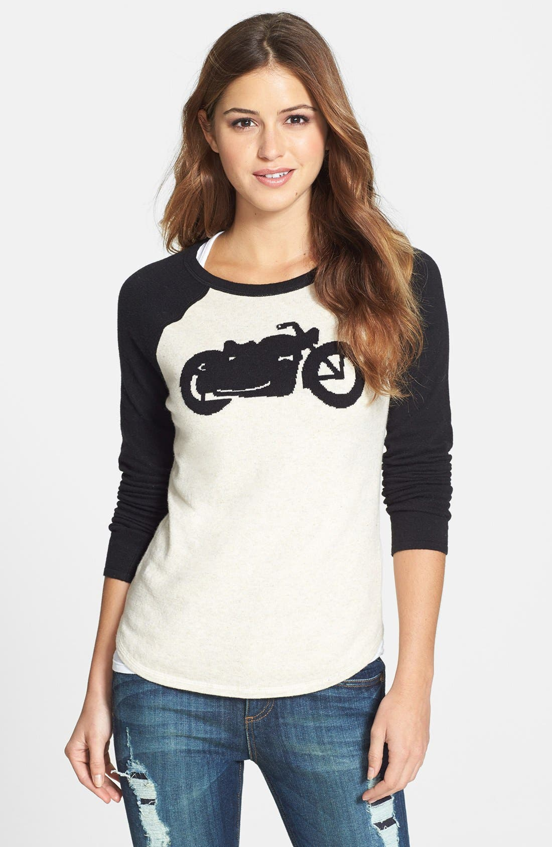 Alternate Image 1 Selected - Lucky Brand Motorcycle Intarsia Knit Sweater