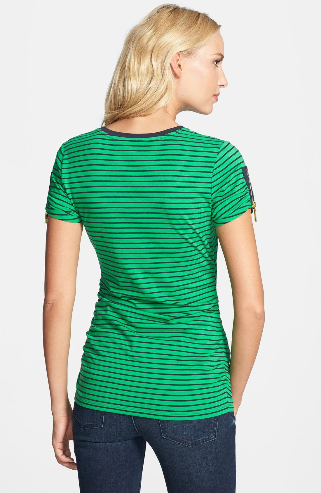 Alternate Image 2  - MICHAEL Michael Kors Zip Sleeve Crewneck Tee