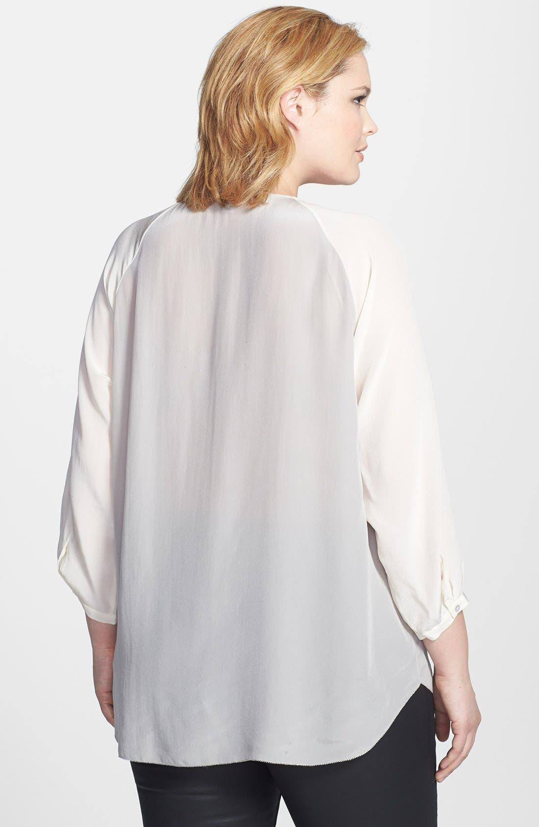 Alternate Image 2  - Eileen Fisher Silk Split Neckline Top (Plus Size)