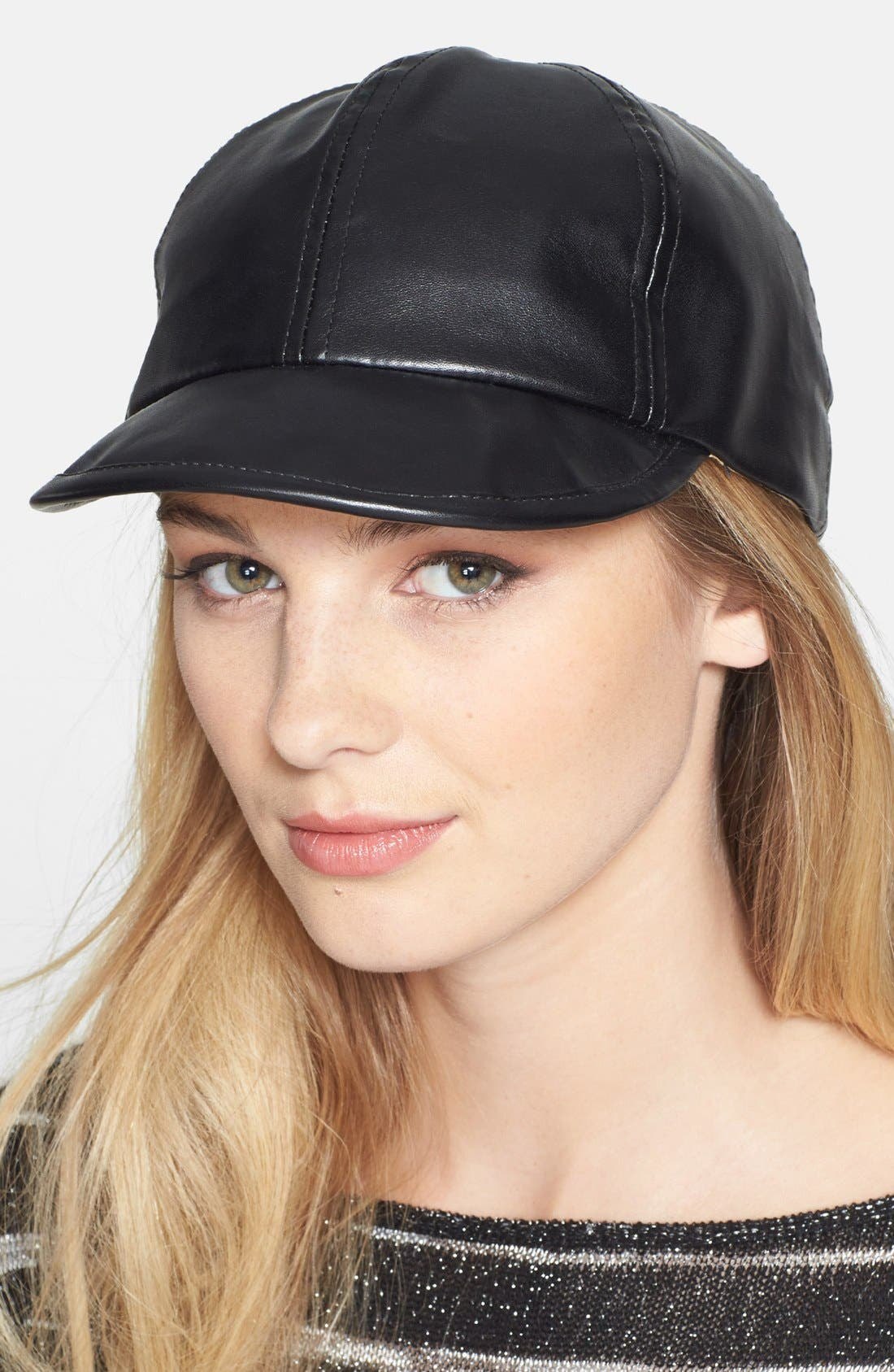 Main Image - BCBGeneration 'Boss' Faux Leather Baseball Cap