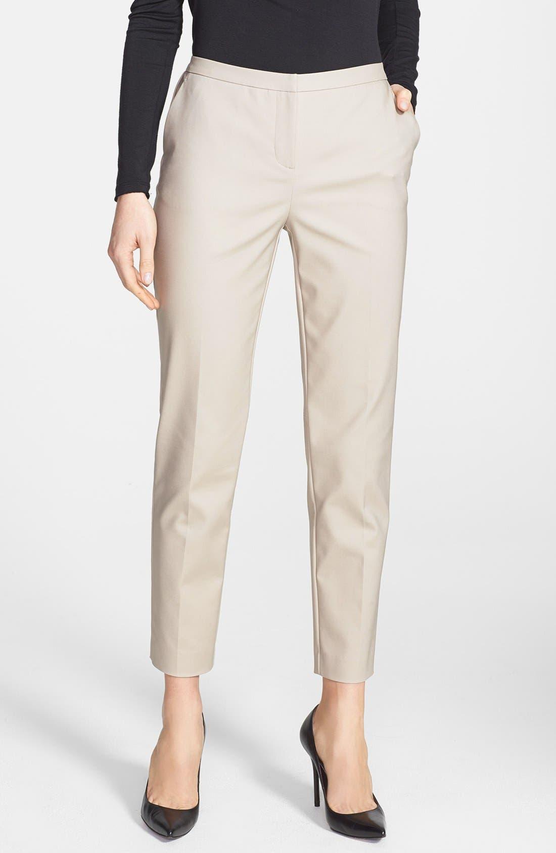 Main Image - Halogen® 'Taylor' Stretch Cotton Blend Crop Pants