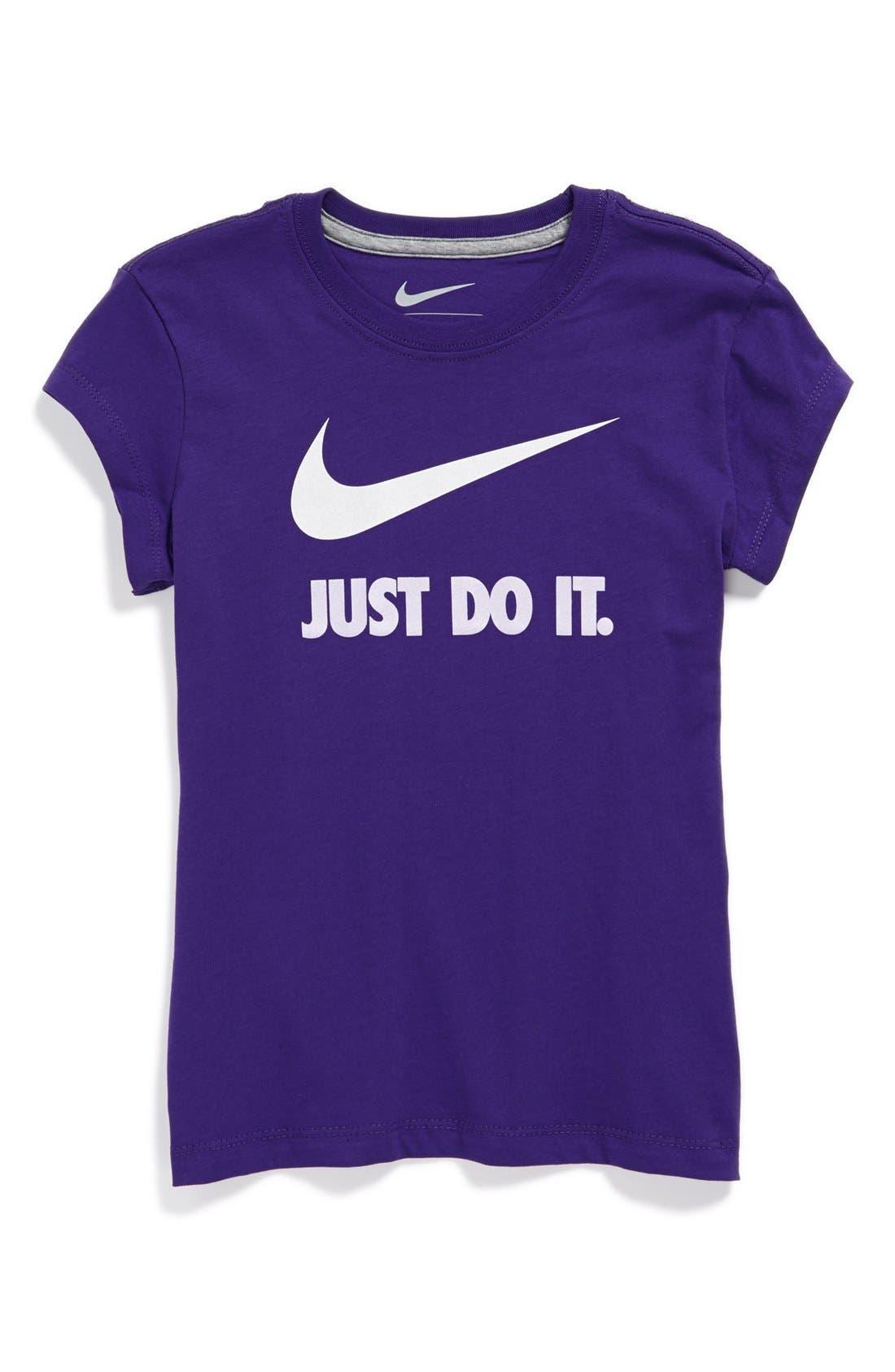 Alternate Image 1 Selected - Nike 'Swoosh' T-Shirt (Little Girls & Big Girls)