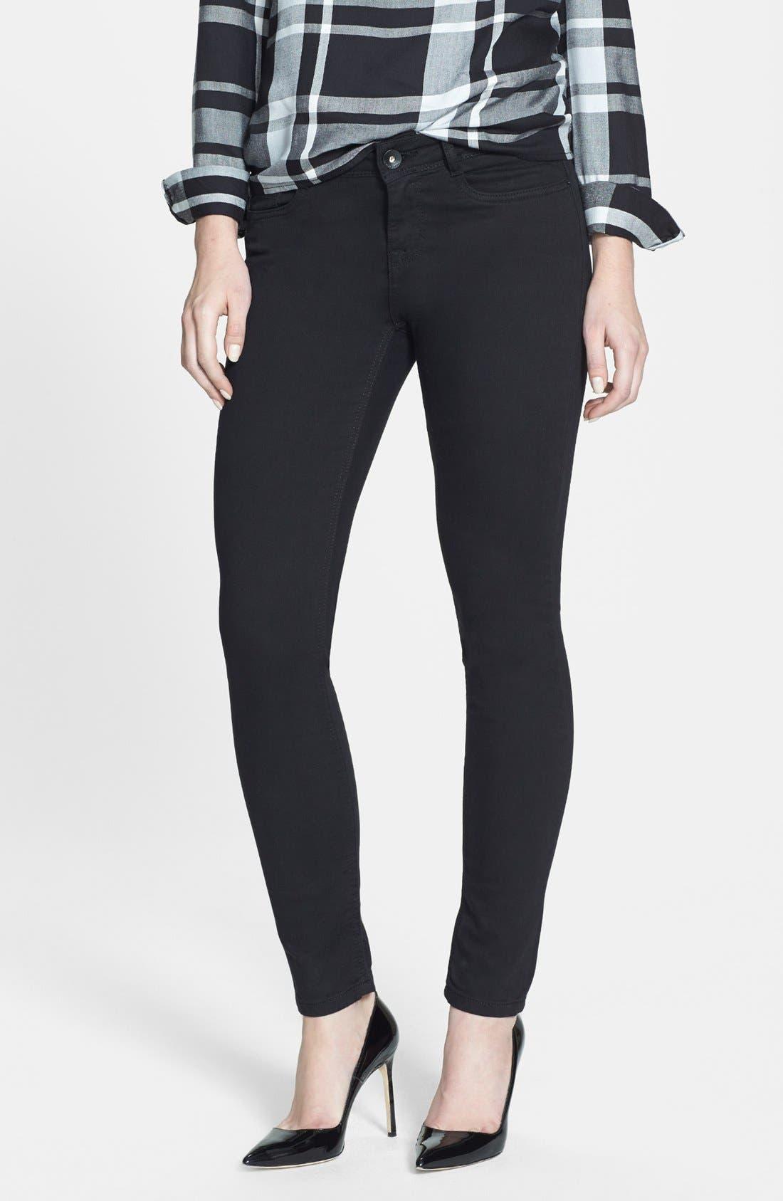 Alternate Image 1 Selected - kensie 'You Look Pretty' Stretch Denim Skinny Jeans (Black)